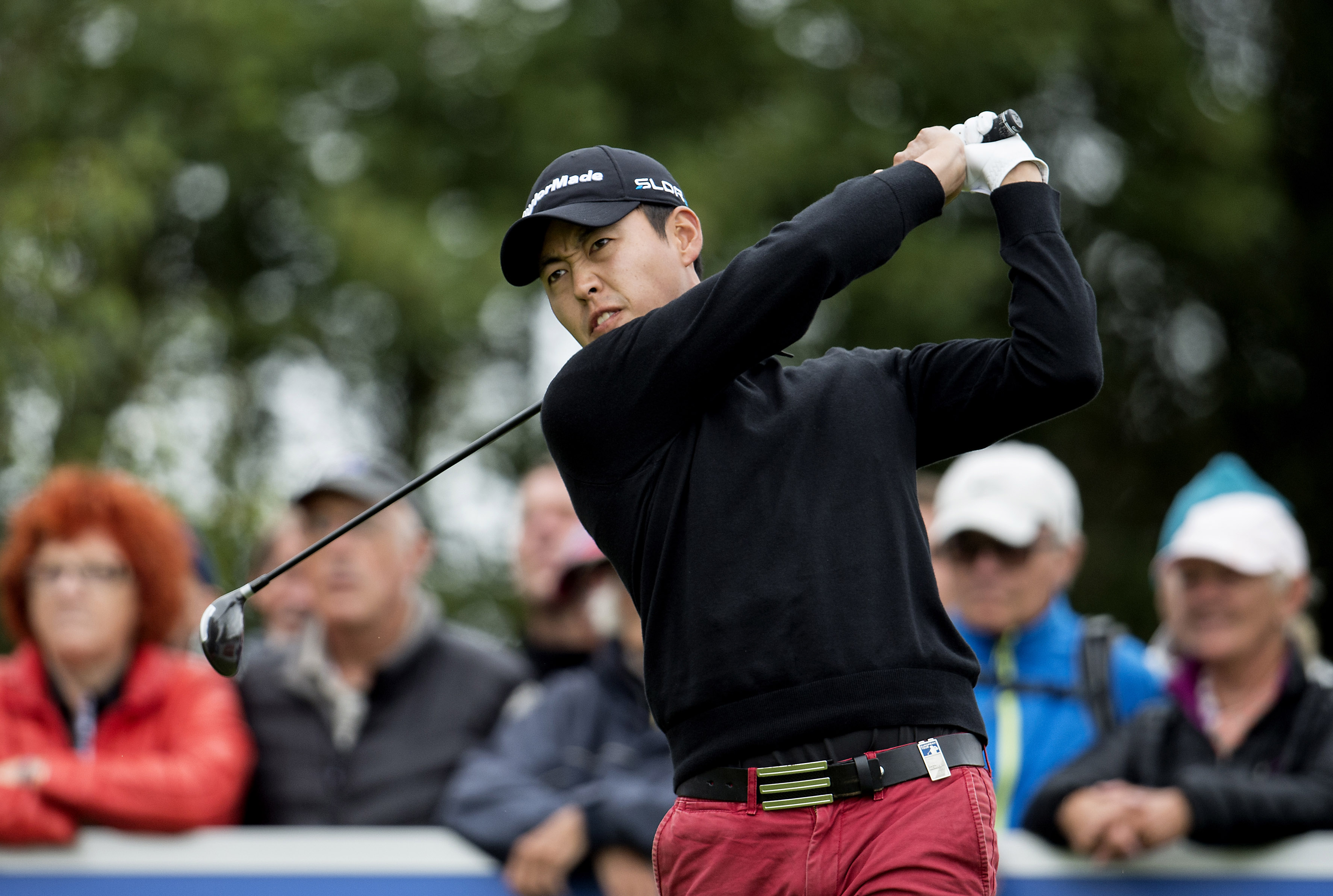 Daniel Im of the U.S during the third round of the European Tour Golf Tournament in Himmerland, Denmark, Saturday, Aug. 16, 2014. (AP Photo/POLFOTO, Rene Schütze) DENMARK OUT