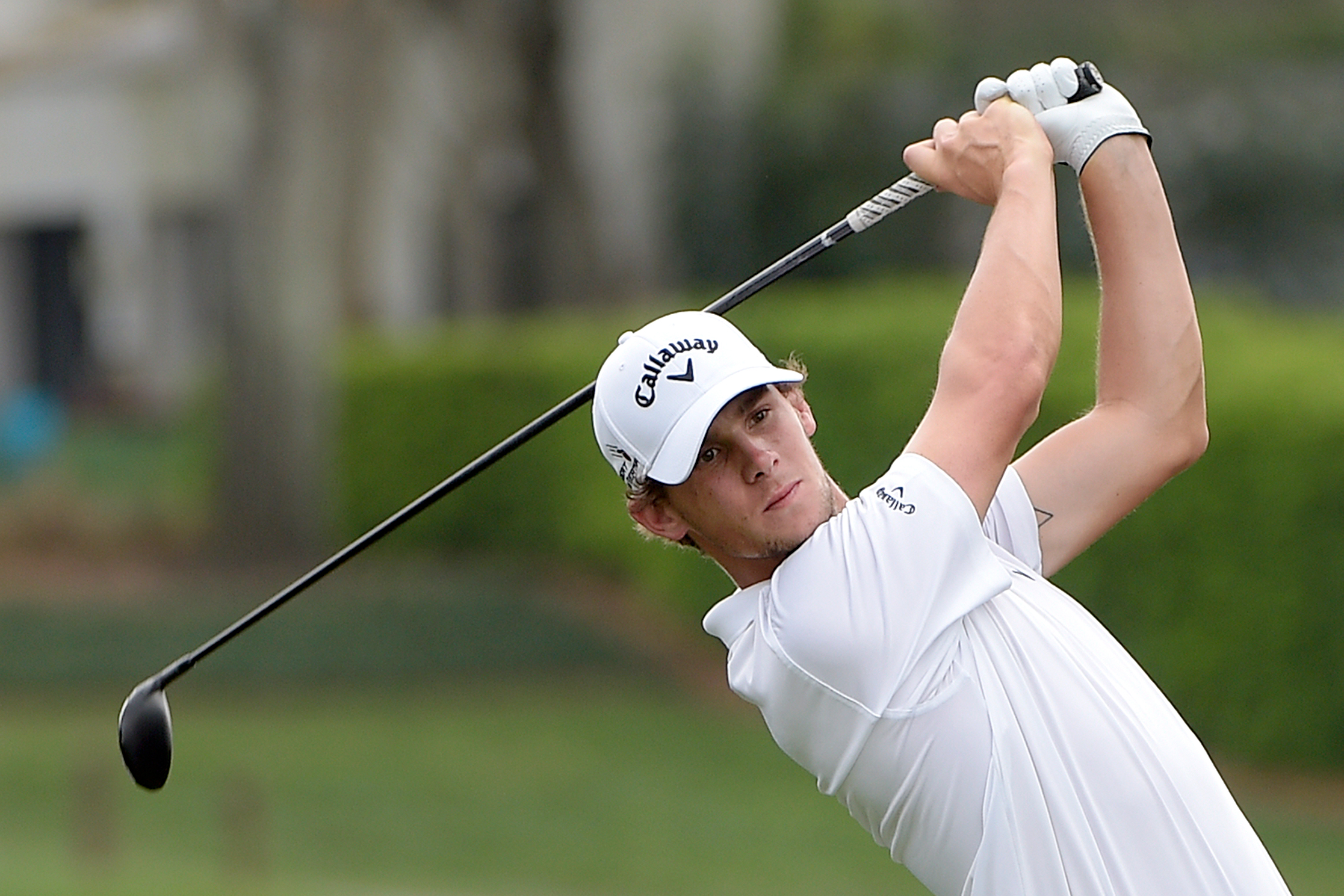 FILE - In this Thursday, March 17, 2016, file photo Thomas Pieters, of Belgium, tees off on the 18th hole during the first round of the Arnold Palmer Invitational golf tournament in Orlando, Fla. There is one advantage of coming from a country with very l