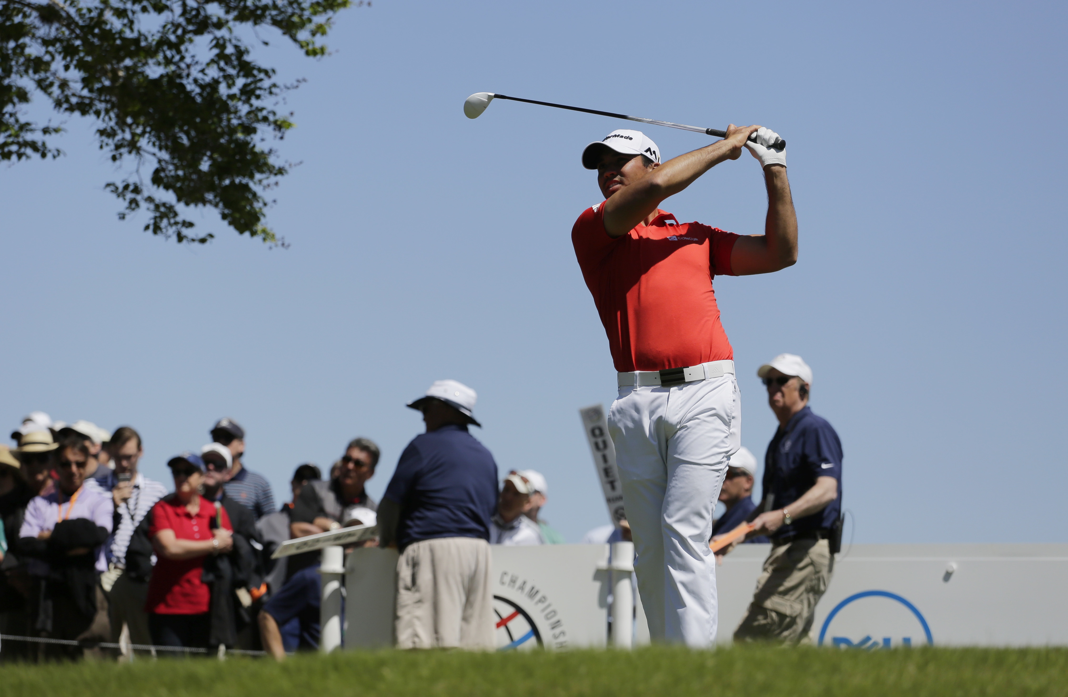 Jason Day, of Australia, watches his tee shot on the third hole during round-robin play against Paul Casey at the Dell Match Play Championship golf tournament at Austin County Club, Friday, March 25, 2016, in Austin, Texas. (AP Photo/Eric Gay)