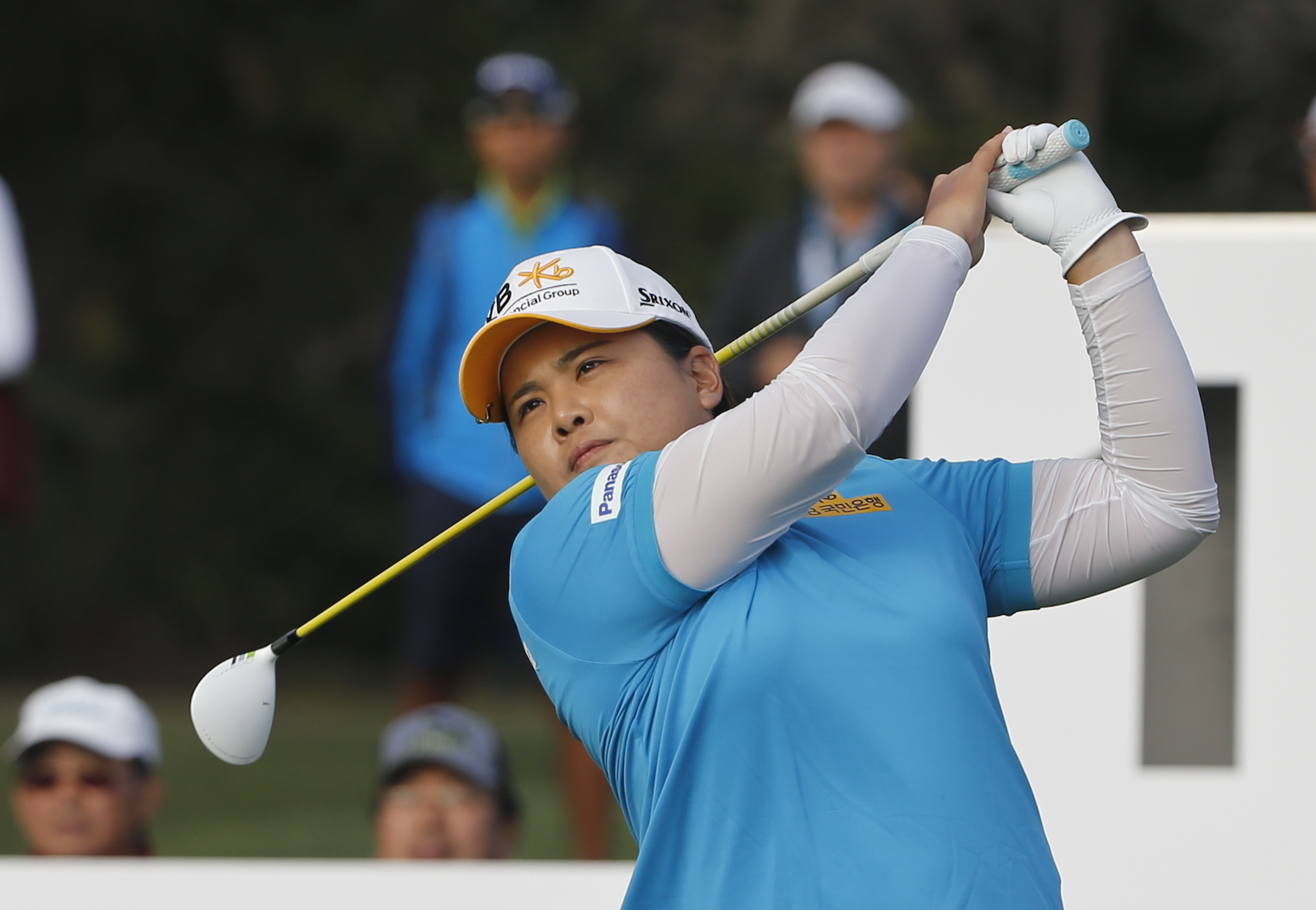 Inbee Park, from South Korea, watches her tee shot on 18th hole during the final round of the Kia Classic women's golf tournament, Sunday, March 27, 2016, in Carlsbad, Calif. Park finished second to Lydia Ko. (AP Photo/Lenny Ignelzi)