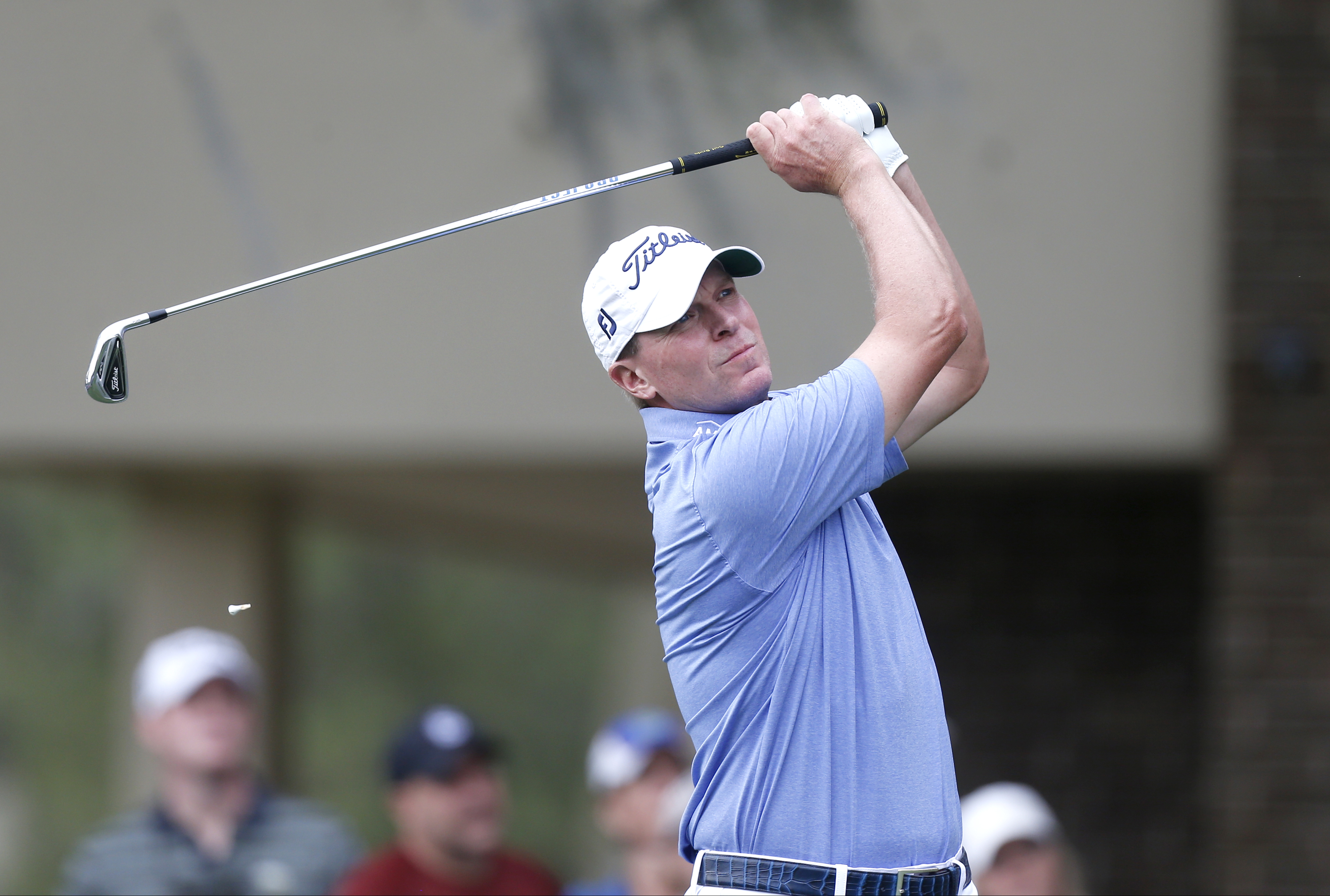 Steve Stricker takes his tee shot on the second hole during the final round of the Valspar Championship golf tournament Sunday, March 13, 2016, in Palm Harbor, Fla. (AP Photo/Brian Blanco)