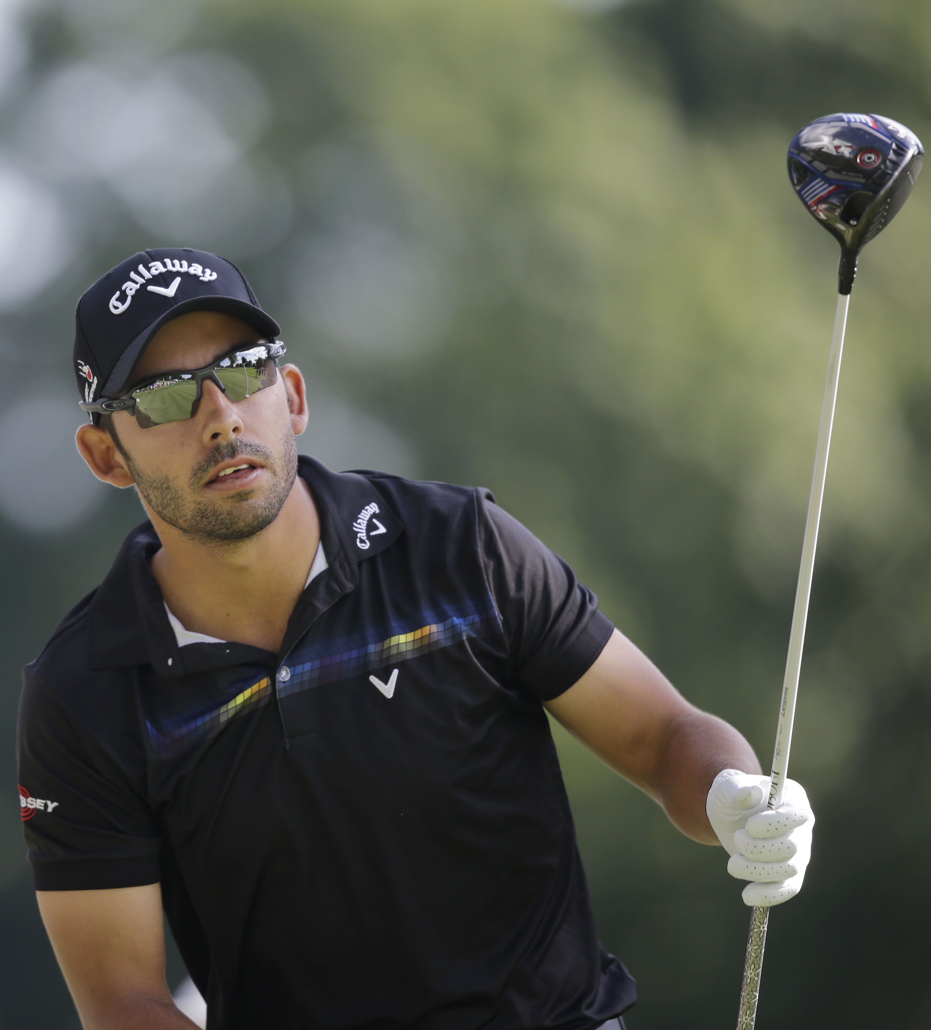 Pablo Larrazabal, from Spain, tees off on the 11th hole during the second round of the Bridgestone Invitational golf tournament at Firestone Country Club, Friday, Aug. 7, 2015, in Akron, Ohio. (AP Photo/Tony Dejak)