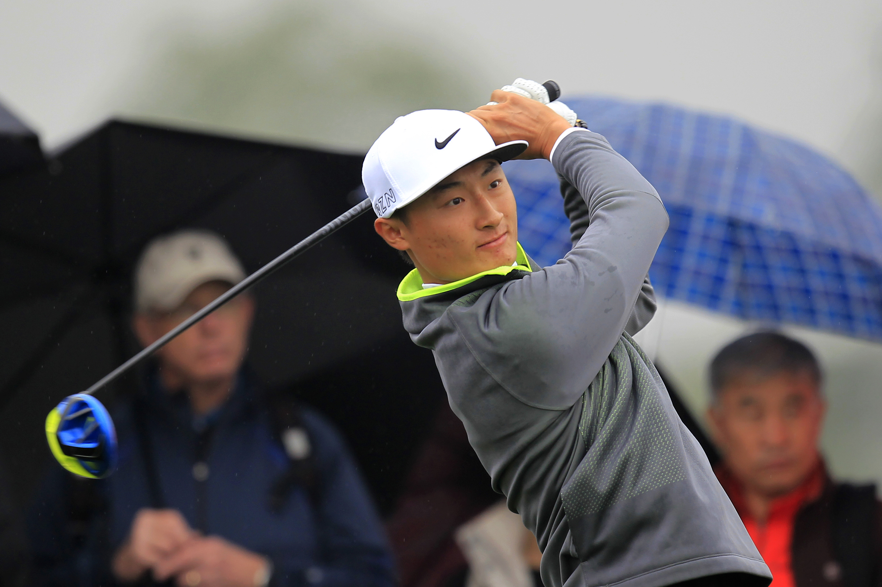 Li Haotong of China tees off on the 15th hole during the first round of the BMW Masters golf tournament at the Lake Malaren Golf Club in Shanghai, China Thursday, Nov. 12, 2015. (AP Photo)