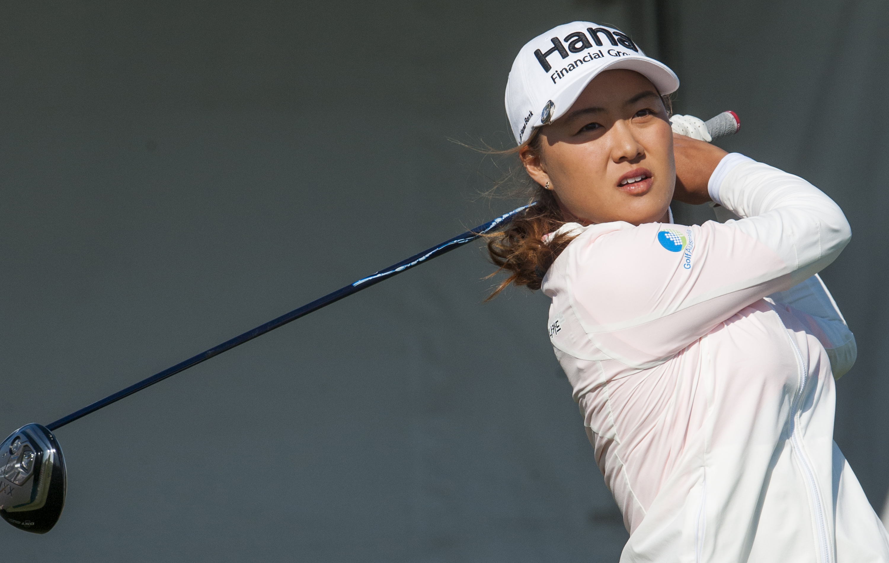 Minjee Lee tees off during round two of the Yokohama Tire LPGA Classic golf tournament in Prattville, Ala., on Friday, May 6, 2016. (Mickey Welsh/The Montgomery Advertiser via AP)  NO SALES; MANDATORY CREDIT