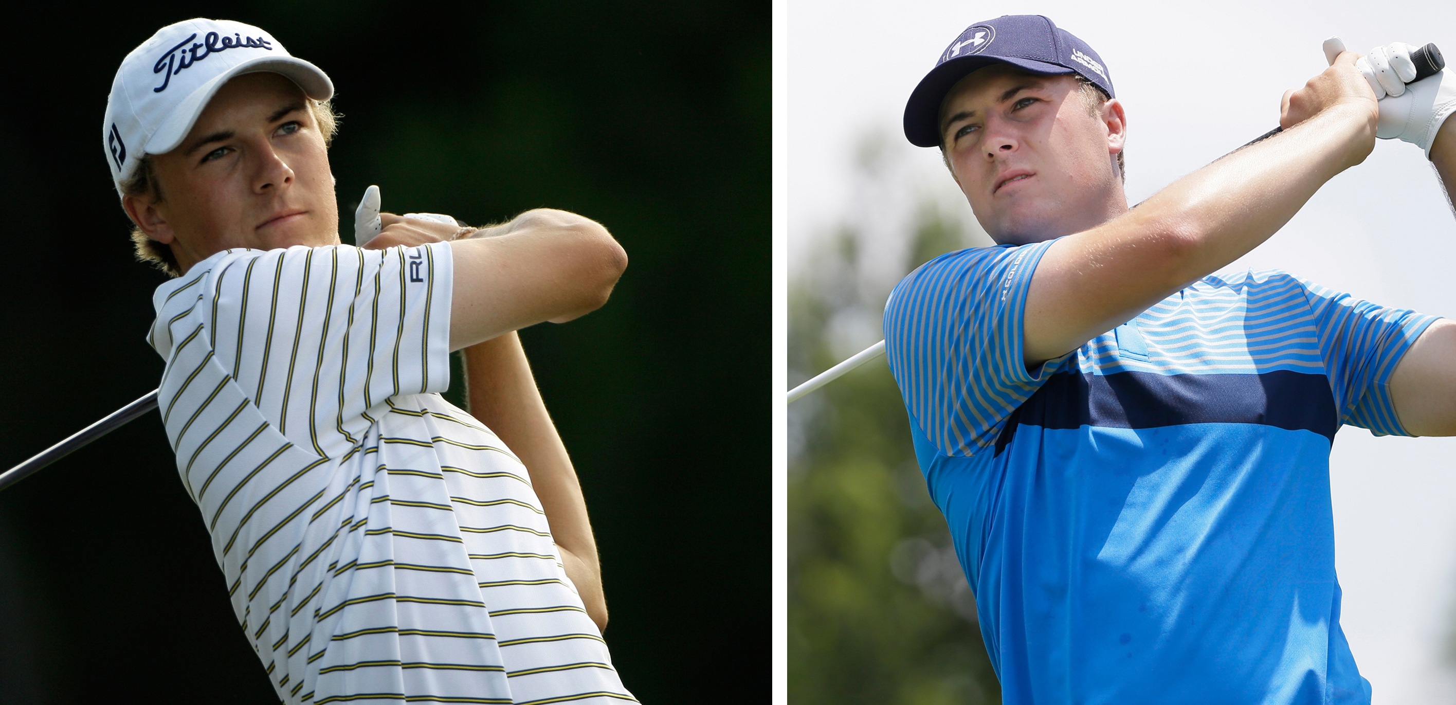 FILE - At left, in a May 20, 2010, file photo, Jordan Spieth, 16, a junior at Jesuit College Preparatory School in Dallas, watches his shot off the 12th tee during the first round of the Byron Nelson golf tournament in Irving, Texas. At right, in a May 28