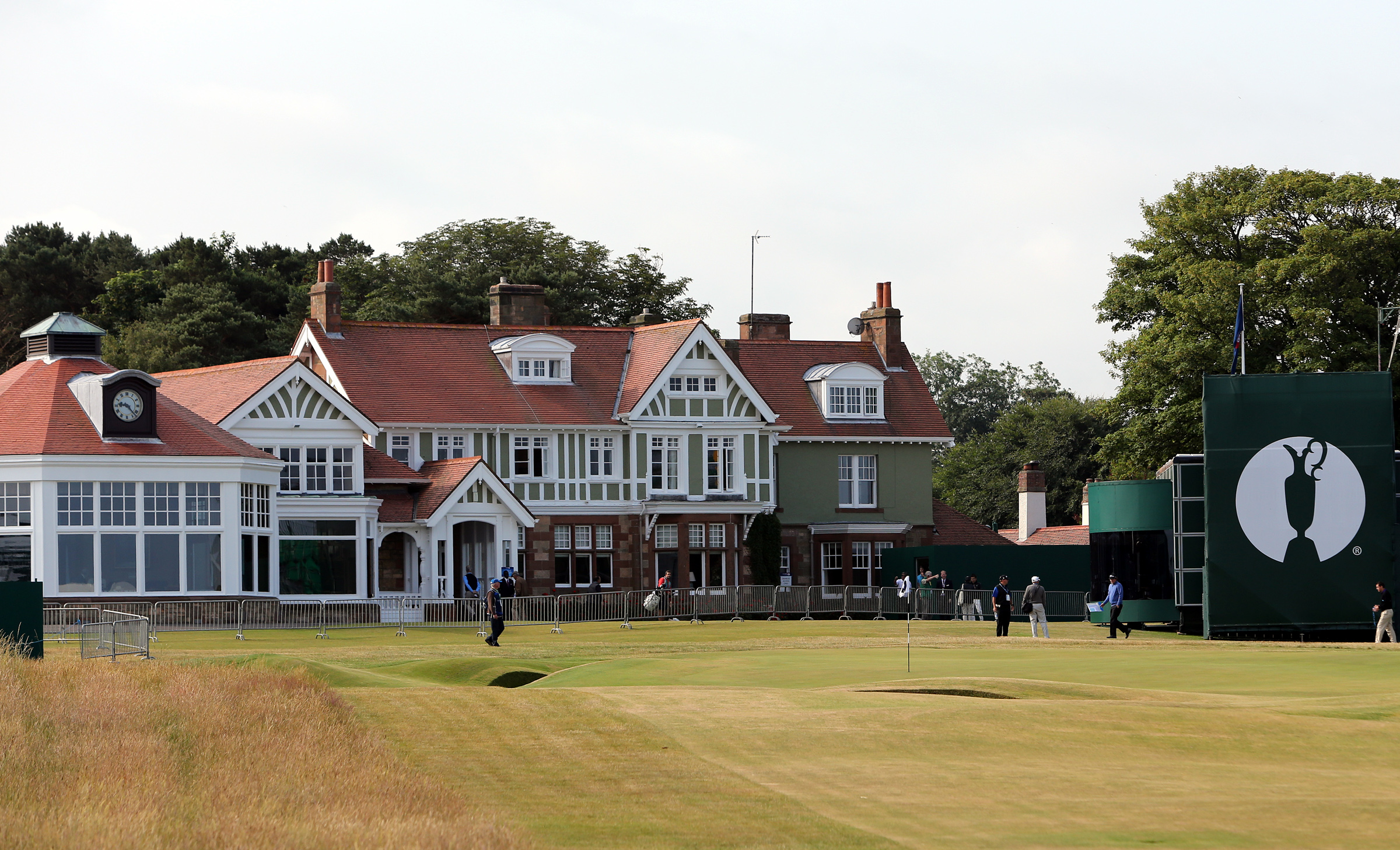 FILE - This is a Sunday, July 14, 2013 file photo of the clubhouse at Muirfield golf course in Muirfield. Muirfield, one of the golf clubs that hosts the British Open, has voted against allowing women to become members. The decision was announced Thursday