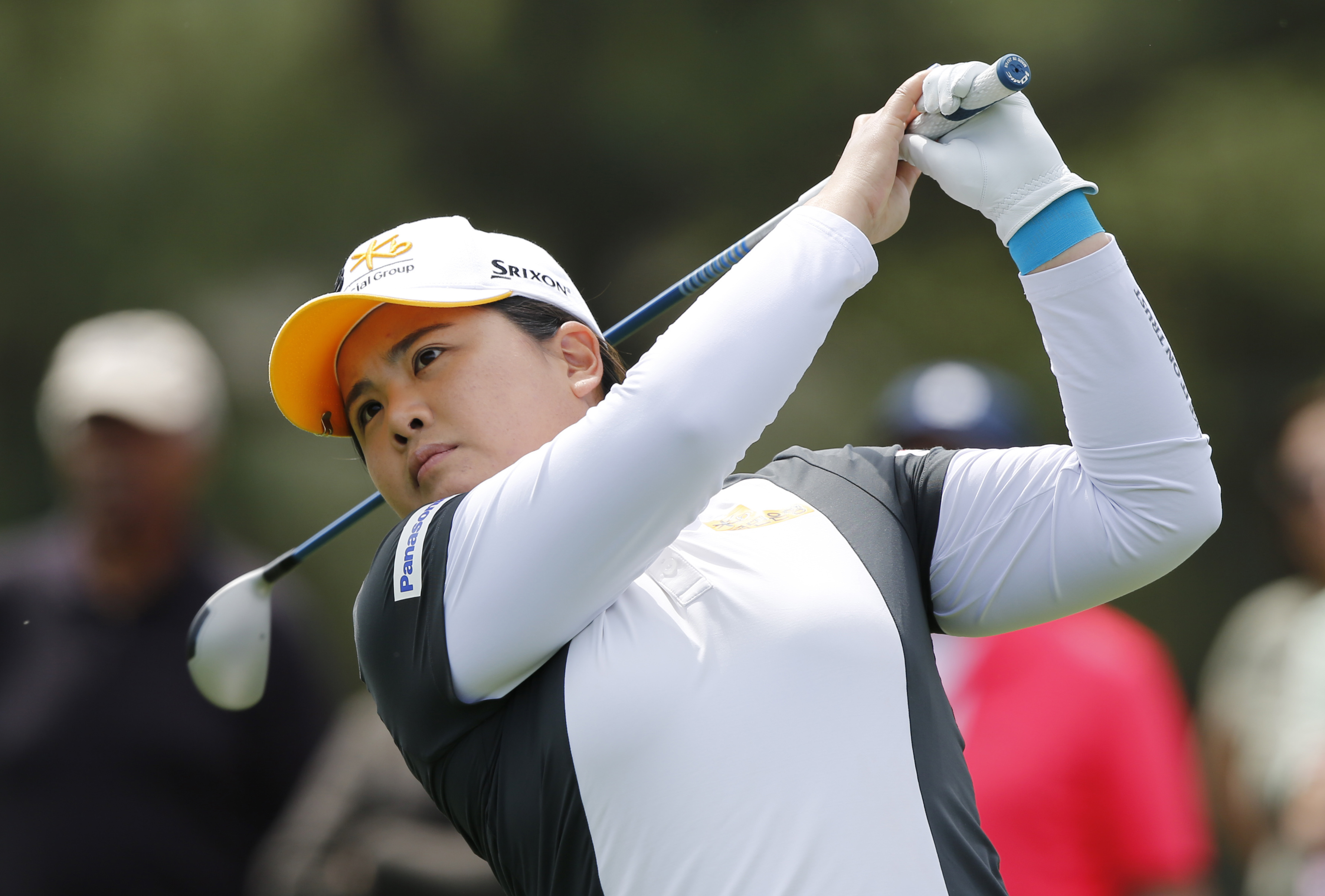 Inbee Park, of South Korea, watches her tee shot on the second tee during the first round of the Kingsmill Championship golf tournament at the Kingsmill Resort in Williamsburg, Va., Thursday, May 19, 2016. (AP Photo/Steve Helber)