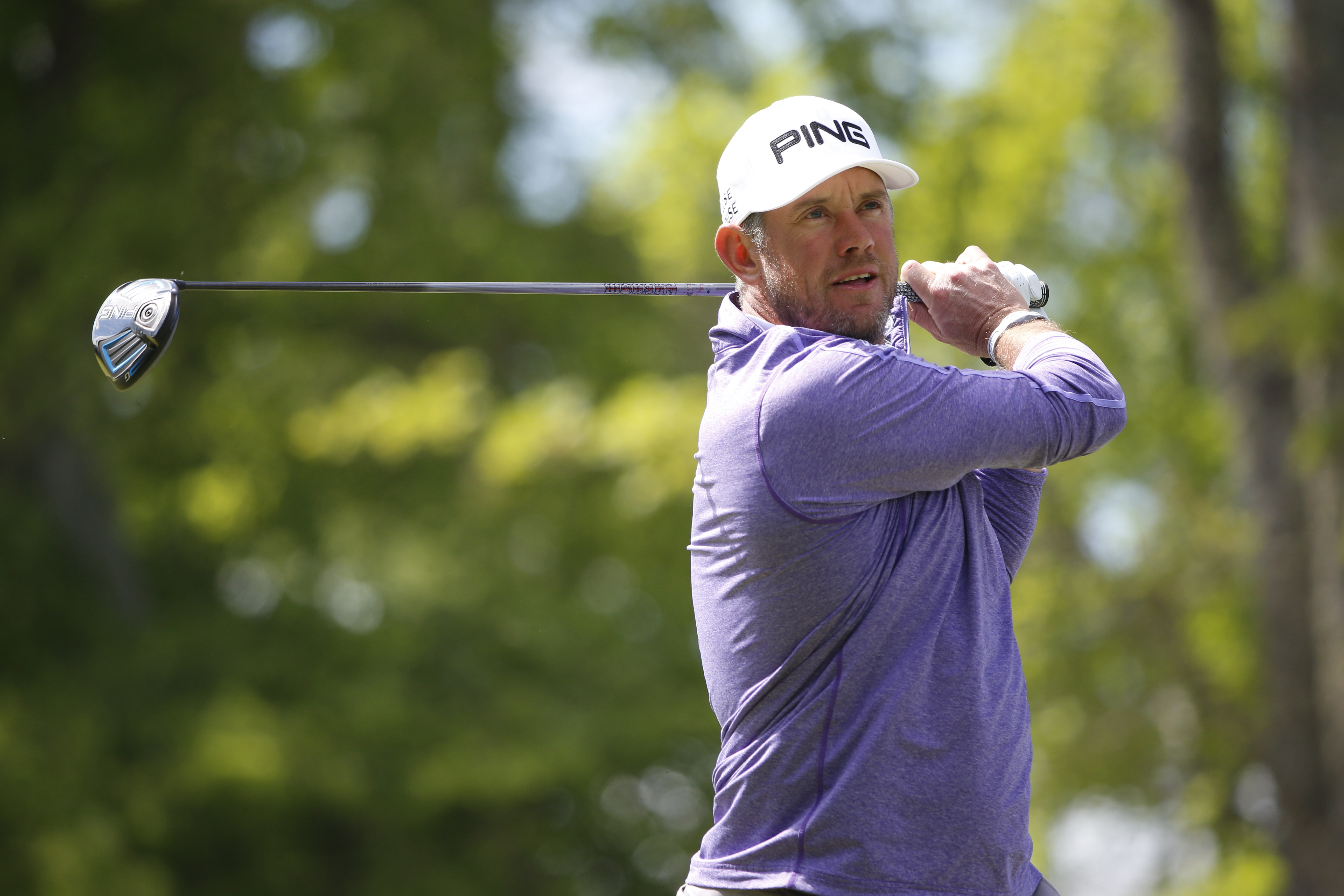 England's Lee Westwood on the second tee during the last round of the Nordea Masters golf tournament at the Bro Hof golf club, Stockholm,  Sunday June 5, 2016. (Fredrik Persson/TT via AP)  SWEDEN OUT
