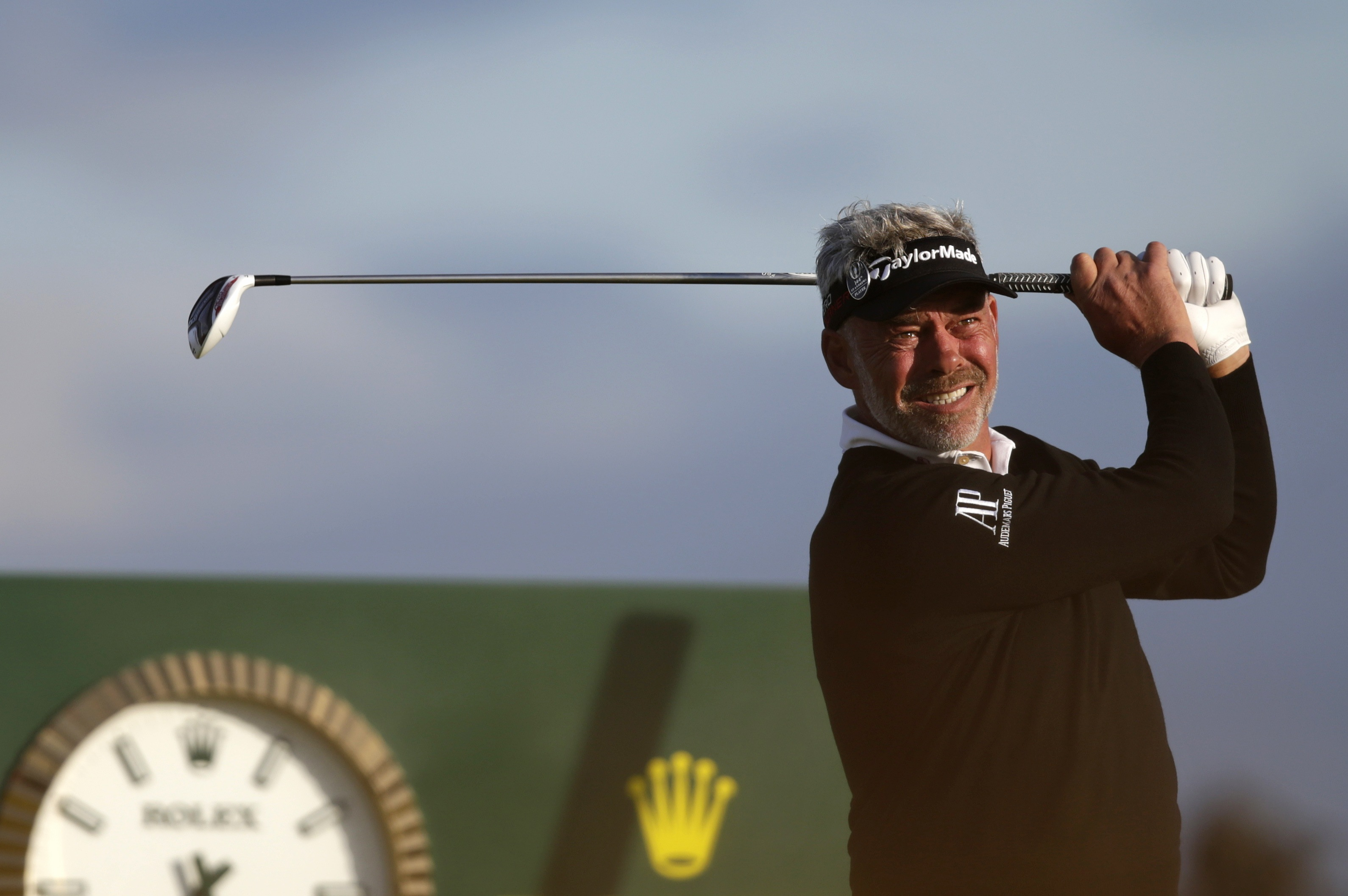 Northern Irelands Darren Clarke drives a ball from the seventh tee during the second round of the British Open Golf Championship at the Old Course, St. Andrews, Scotland, Friday, July 17, 2015. (AP Photo/Alastair Grant)
