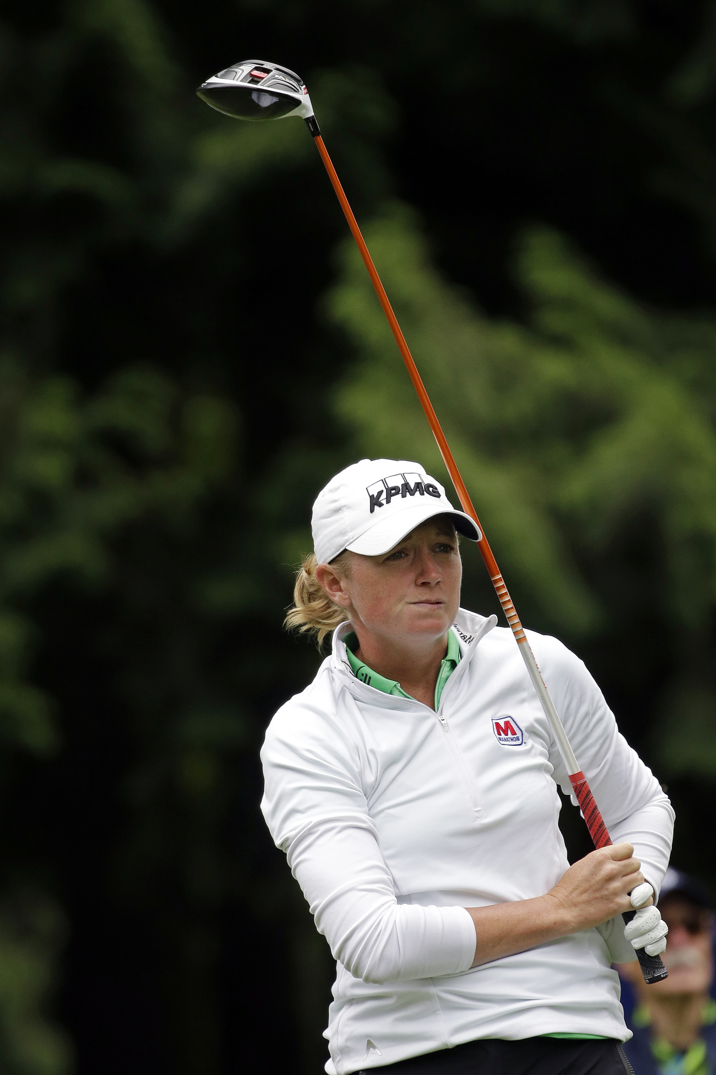 Stacy Lewis watches her tee shot in the first round at the Women's PGA Championship golf tournament at Sahalee Country Club Thursday, June 9, 2016, in Sammamish, Wash. (AP Photo/Elaine Thompson)