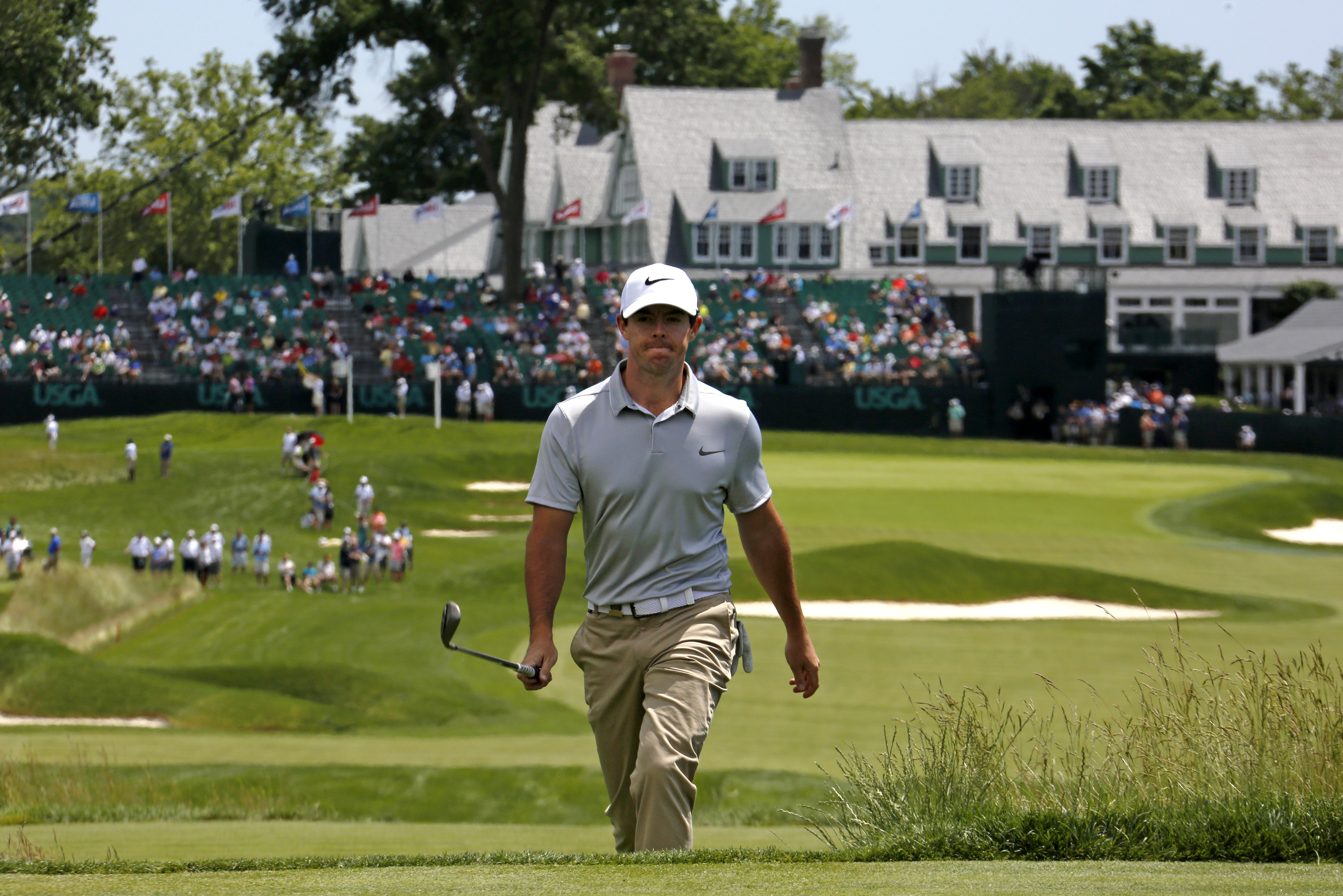 Rory McIlroy, of Northern Ireland, walks to the 18th tee during a practice round for the U.S. Open golf championship, at Oakmont Country Club in Oakmont, Pa., Monday, June 13, 2016. (AP Photo/Gene J. Puskar)