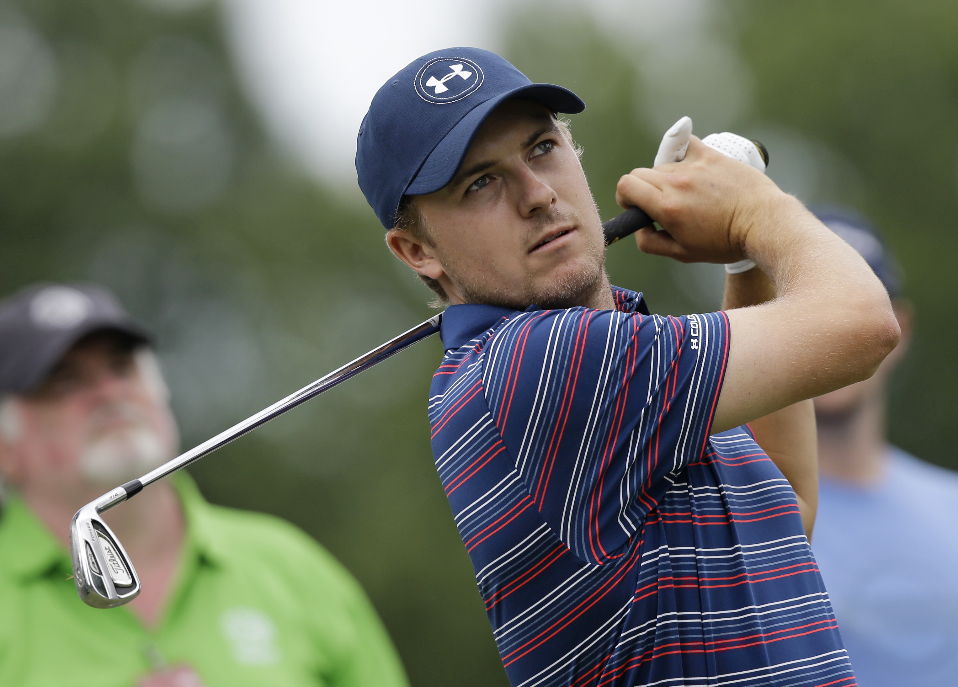Jordan Spieth hits on the 12th hole during the practice round of the Bridgestone Invitational golf tournament at Firestone Country Club, Wednesday, June 29, 2016, in Akron, Ohio. (AP Photo/Tony Dejak)