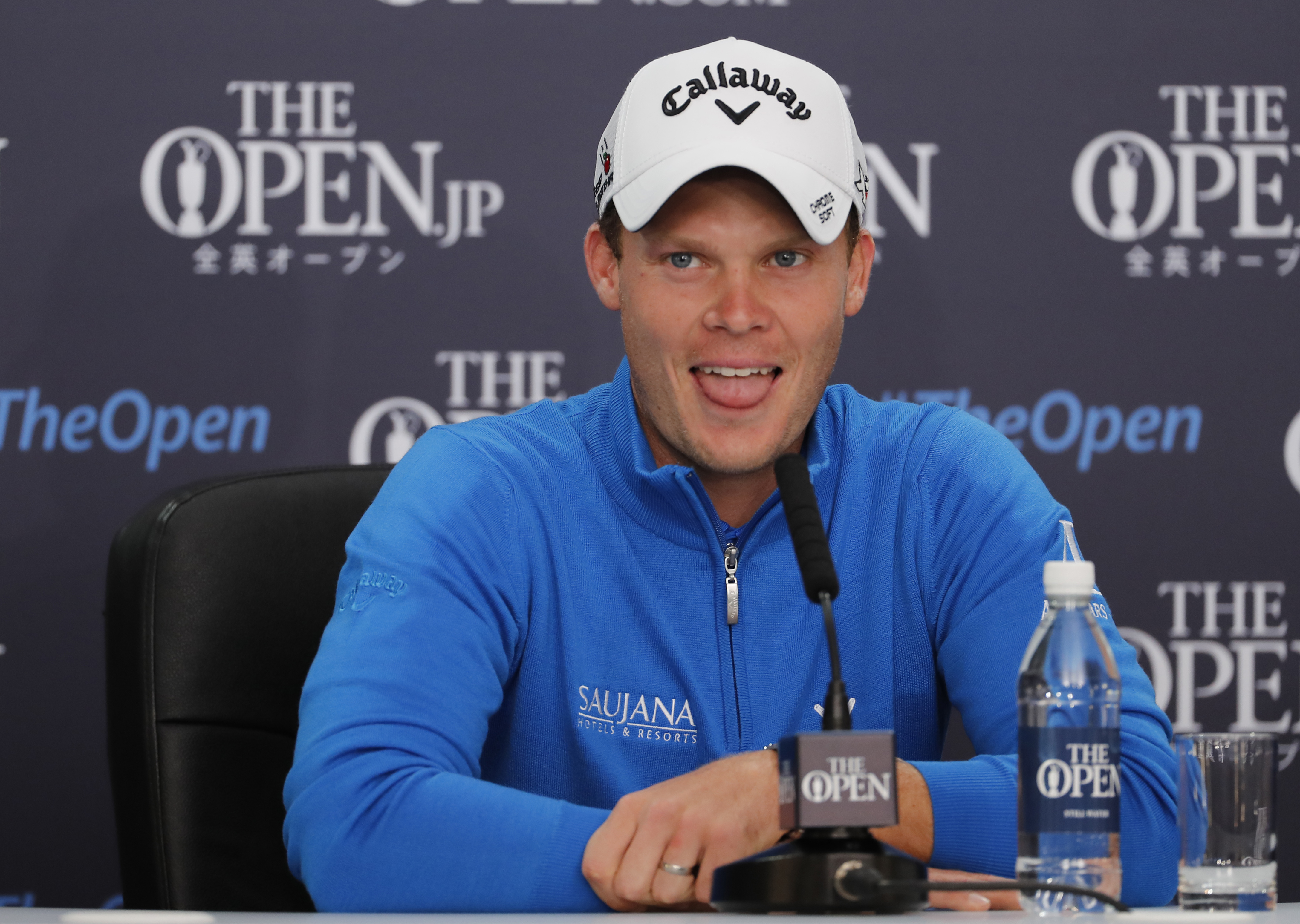 Britain's Danny Willett reacts to a question from the media during a press conference ahead of the British Open Golf Championships at the Royal Troon Golf Club in Troon, Scotland, Tuesday, July 12, 2016. The Open starts Thursday. (AP Photo/Ben Curtis)