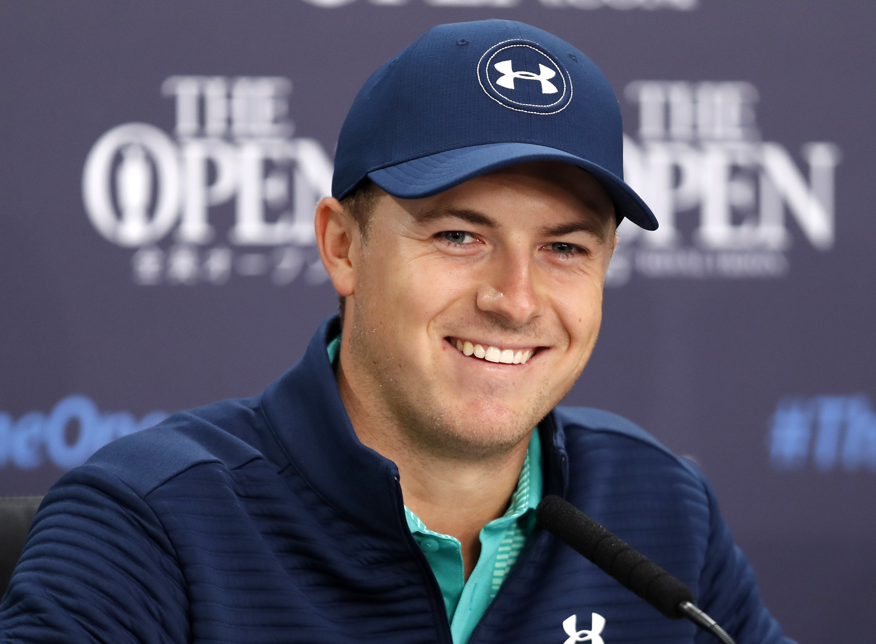 Jordan Spieth of the US speaks during a press conference ahead of the British Open Golf Championship at the Royal Troon Golf Club in Troon, Scotland, Tuesday, July 12, 2016. (AP Photo/Ben Curtis)