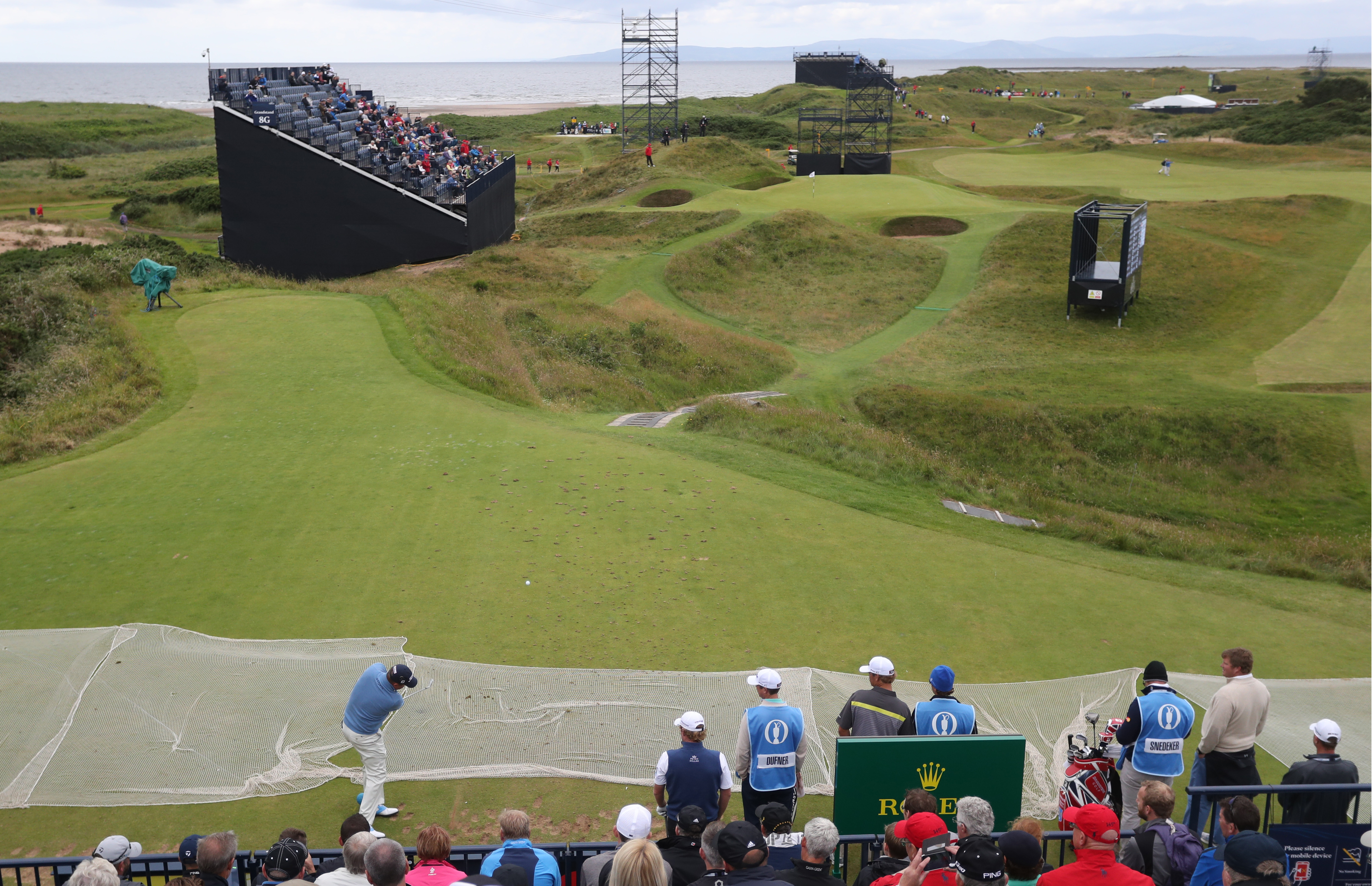 Jason Dufner of the US plays of the 8th tee, the hole a par 3, is 123 yards long and known as the 'postage stamp' during a practice round for the British Open Golf Championships at the Royal Troon Golf Club in Troon, Scotland, Tuesday, July 12, 2016. The