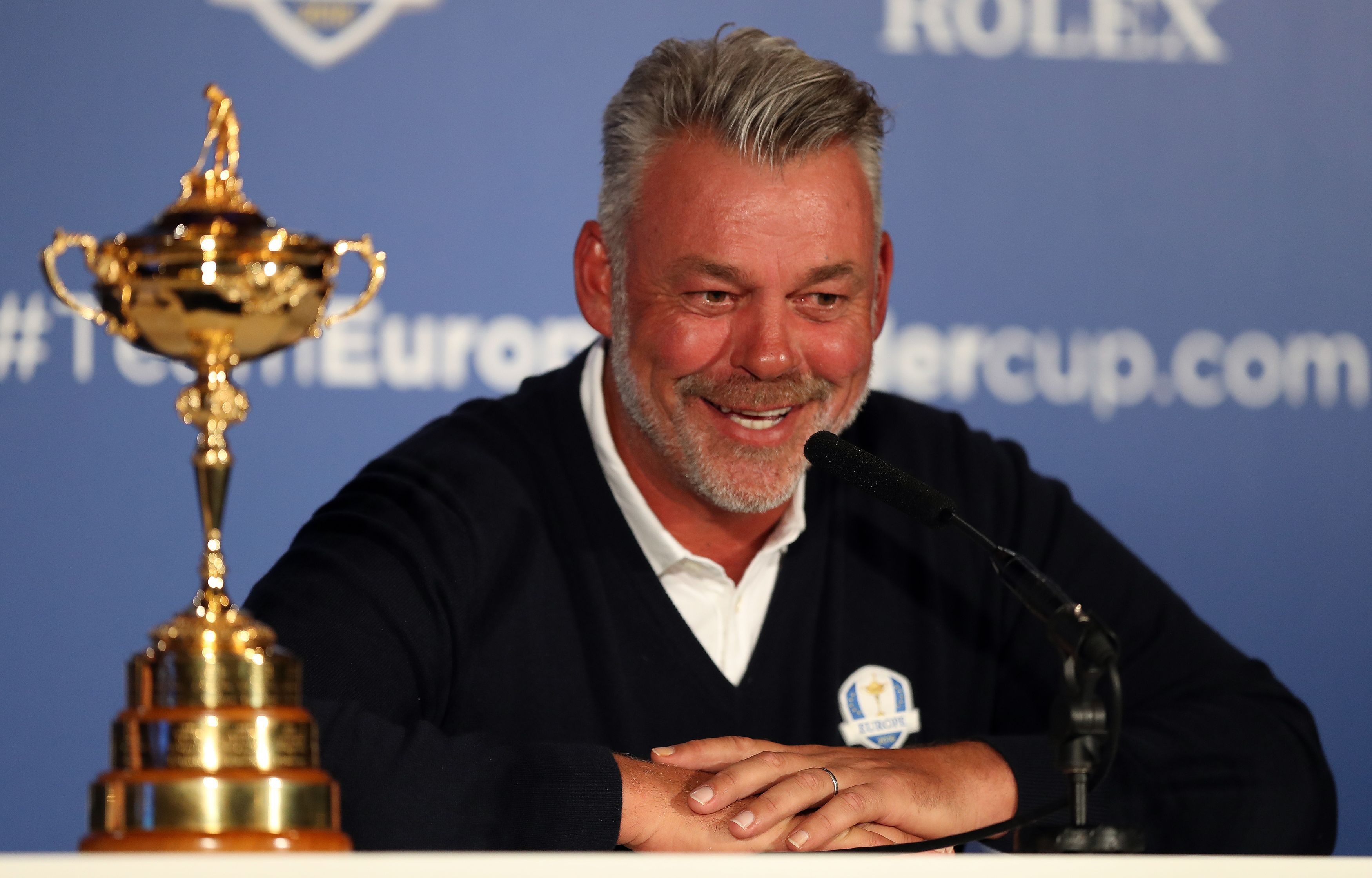 European Ryder Cup captain Darren Clarke smiles during a press conference at Wentworth Golf Club, Virginia Waters, England Tuesday Aug. 30, 2016. Lee Westwood, Martin Kaymer and Thomas Pieters will fill out the European team as Darren Clarke's captain's p