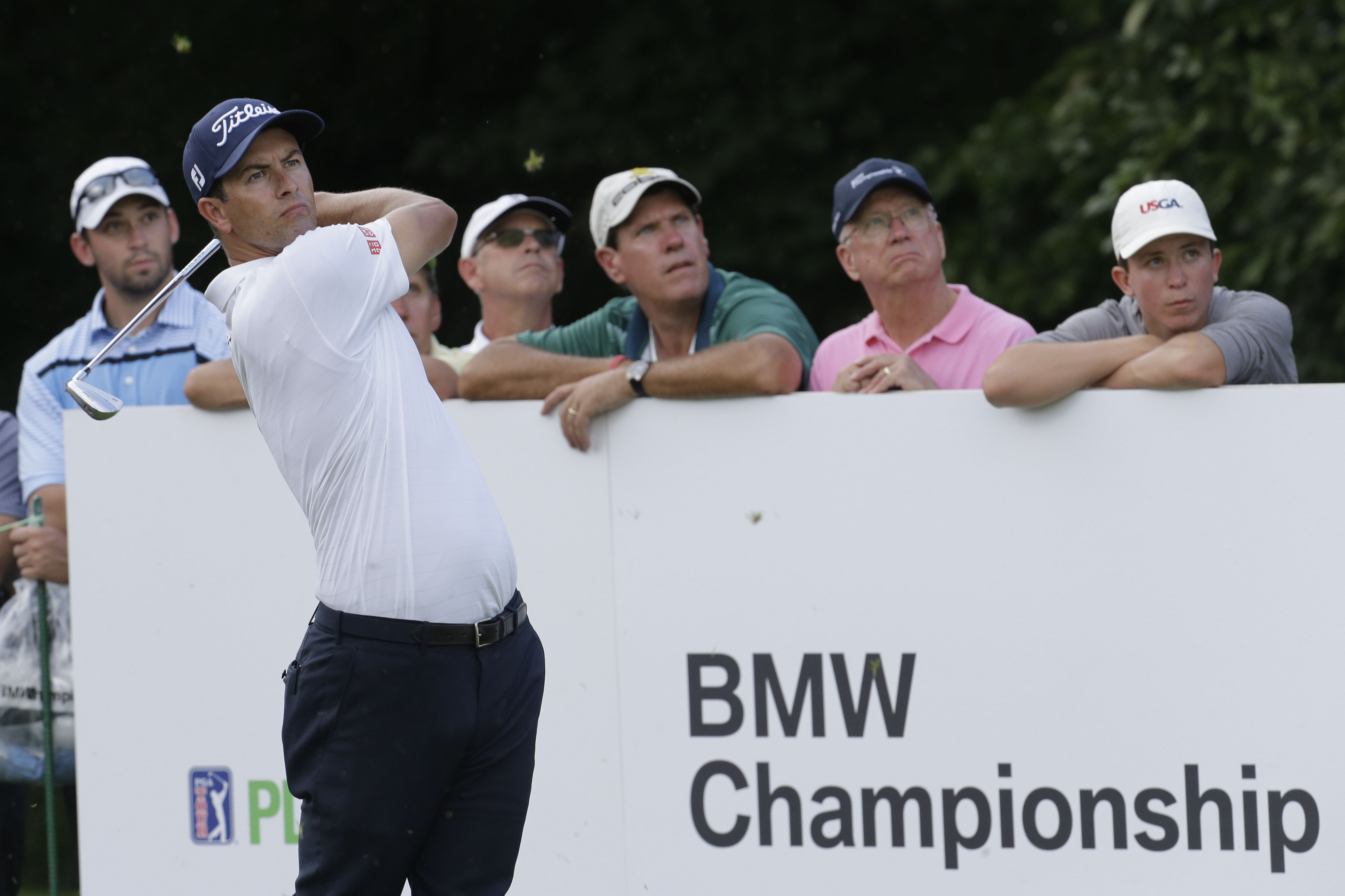 Adam Scott, of Australia, watches his shot from the sixth tee during the first round of the BMW Championship golf tournament at Crooked Stick Golf Club in Carmel, Ind., Thursday, Sept. 8, 2016. (AP Photo/AJ Mast)