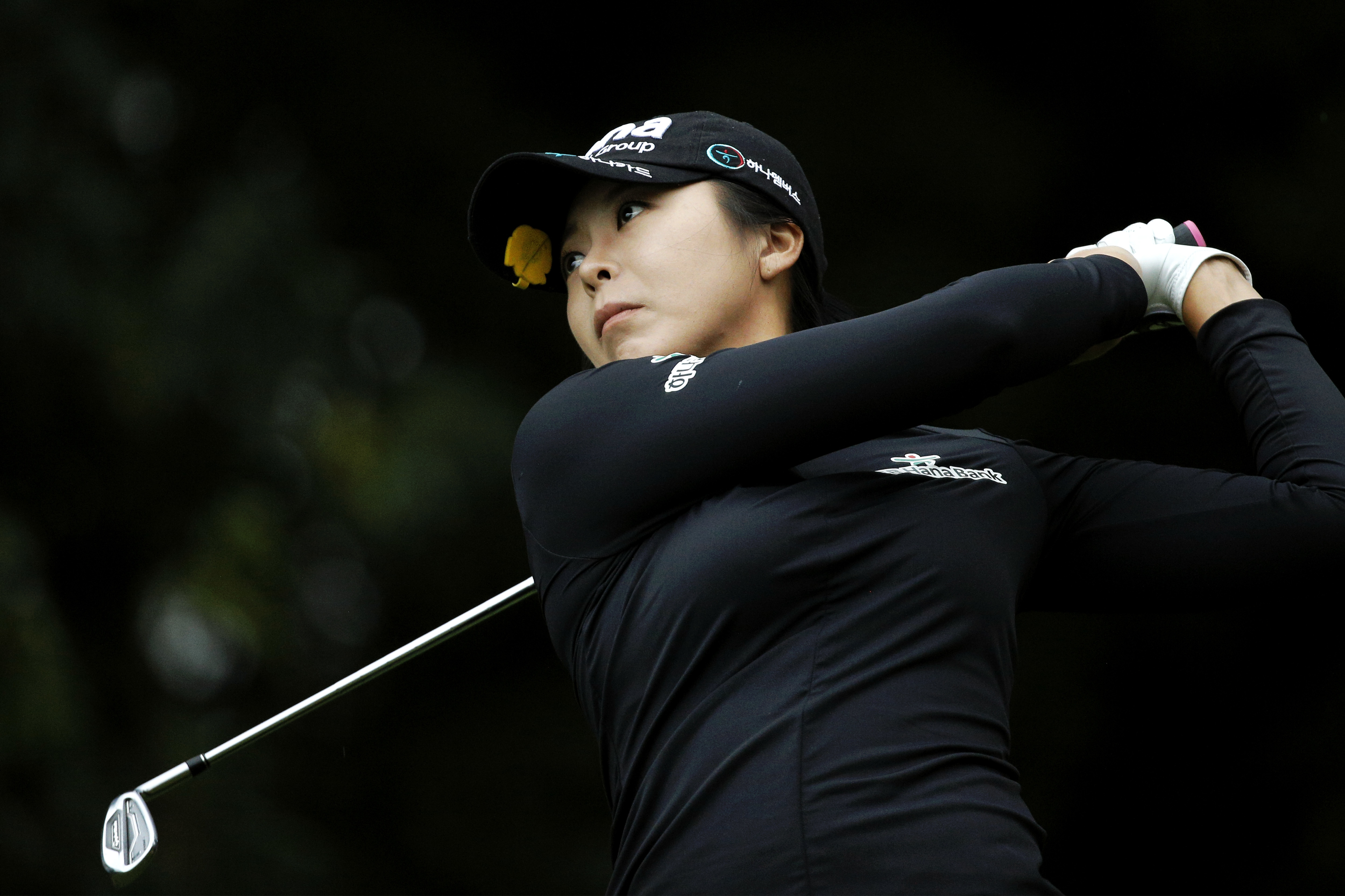 Mi Jung Hur, of South Korea, follows her ball after playing on the 2nd hole during the first round of the Evian Championship women's golf tournament in Evian, eastern France, Thursday, Sept. 15, 2016. (AP Photo/Laurent Cipriani)