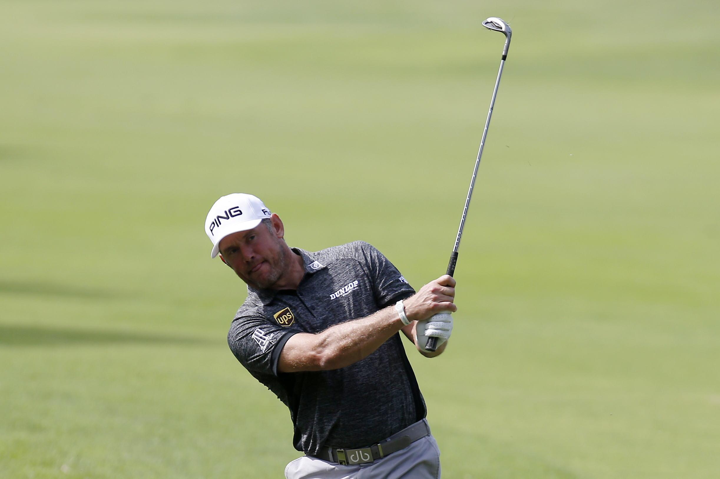 Britain's Lee Westwood hits the ball during the 73th Italy Open Golf Championship in Monza, Italy, Saturday, Sept. 17, 2016. (AP Photo/Antonio Calanni)