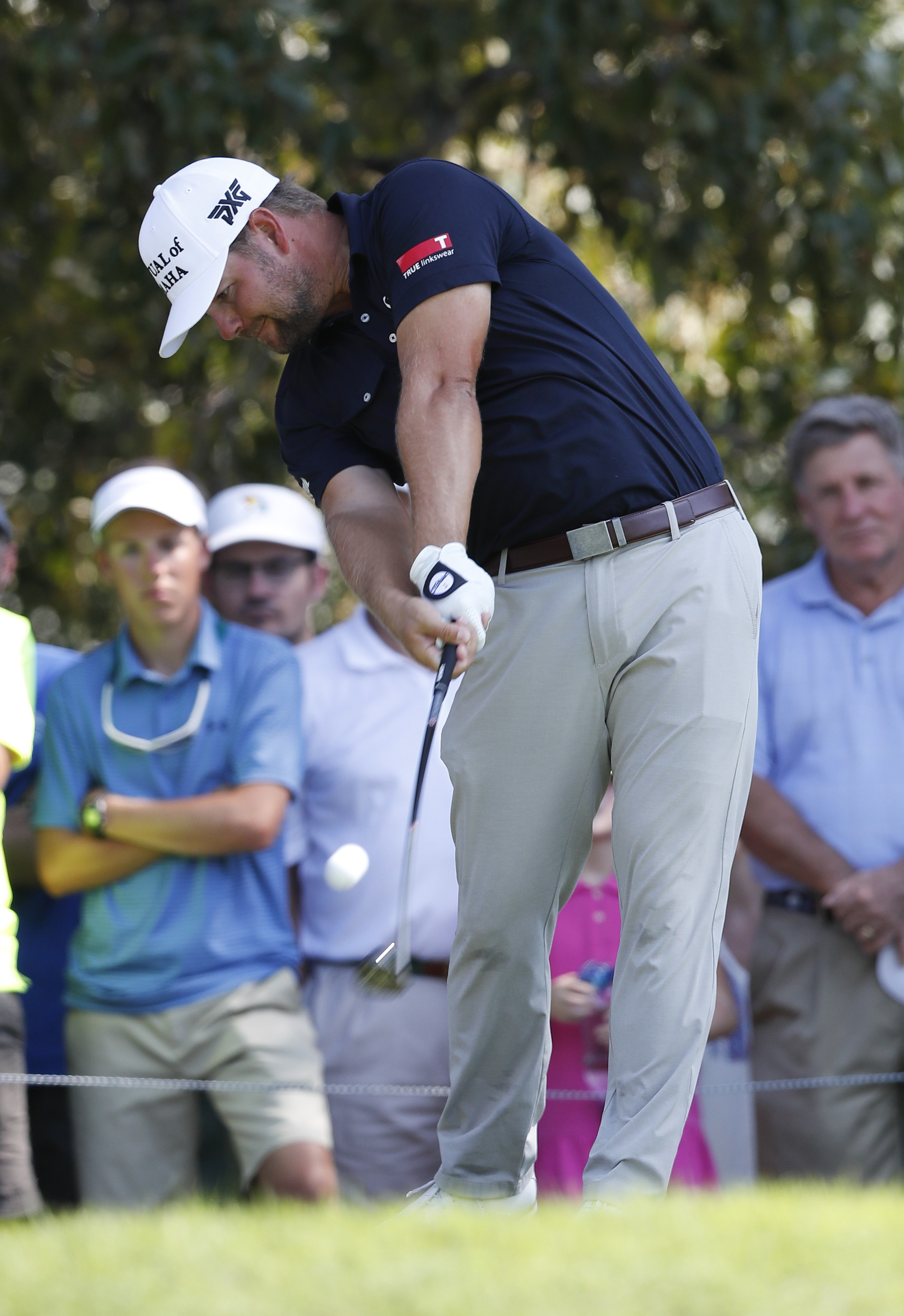 Ryan Moore hits his tee shot on the third hole during the final round of play at the Tour Championship golf tournament at East Lake Golf Club, Sunday, Sept. 25, 2016, in Atlanta. (AP Photo/John Bazemore)