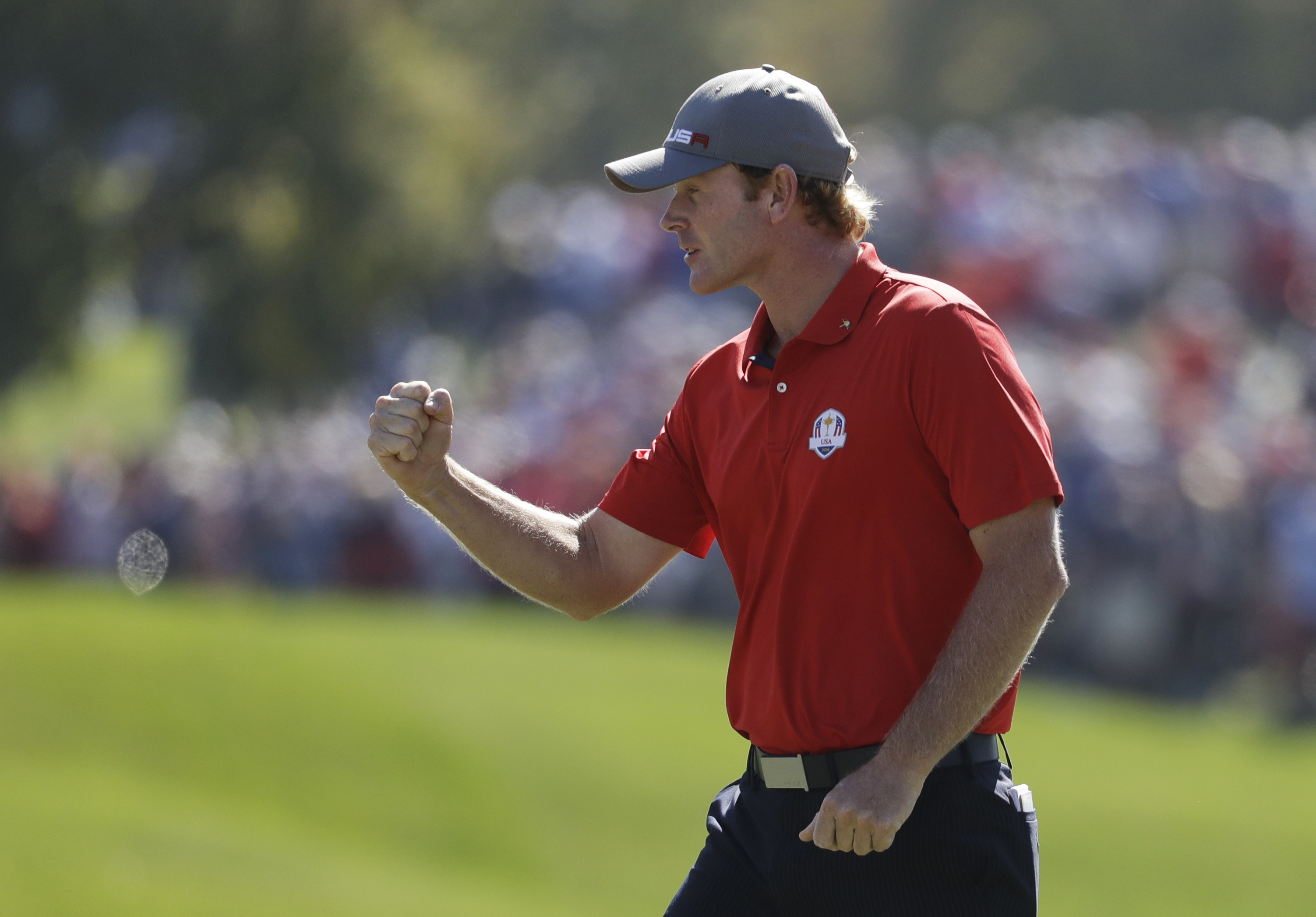 United States Brandt Snedeker reacts after making a birdie putt on the second hole during a four-balls match at the Ryder Cup golf tournament Friday, Sept. 30, 2016, at Hazeltine National Golf Club in Chaska, Minn. (AP Photo/Chris Carlson)