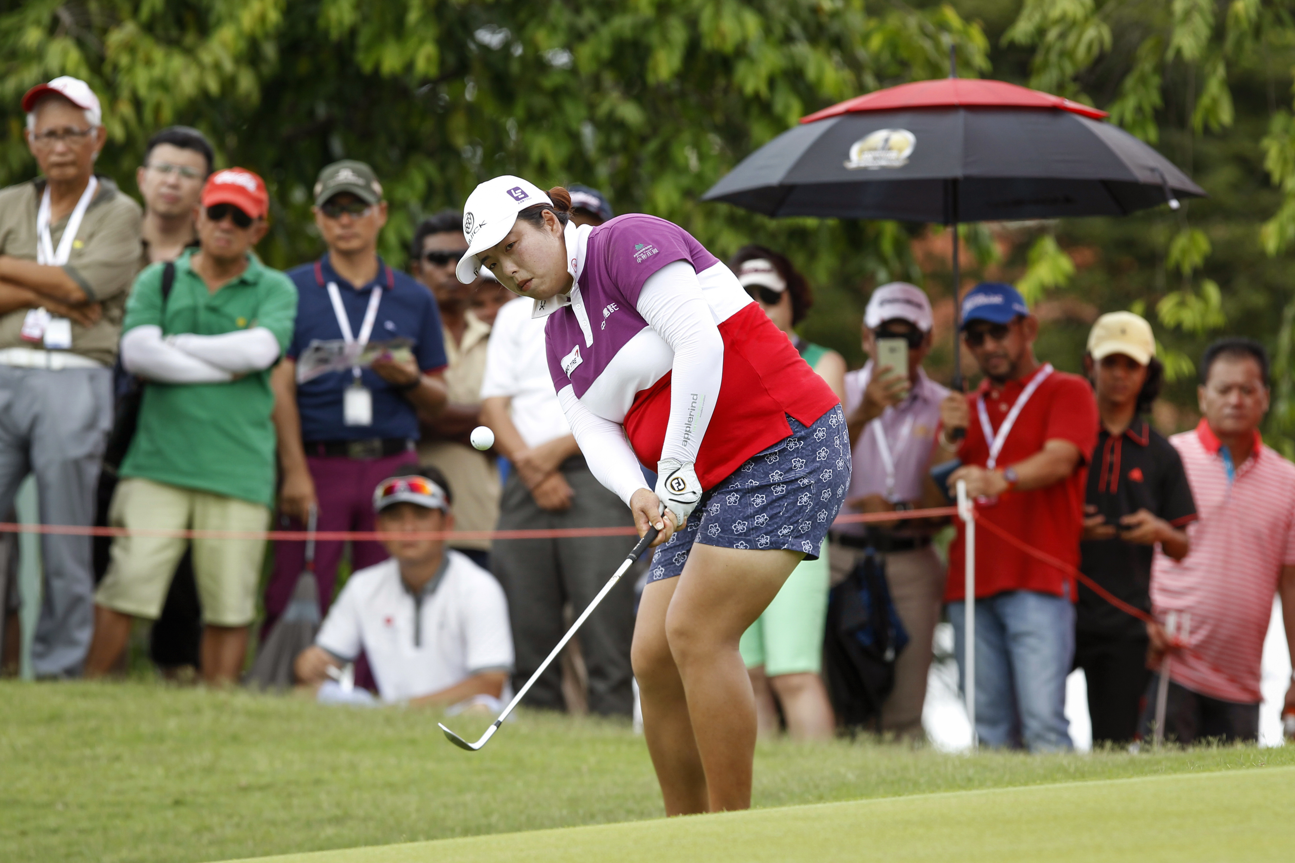 Shanshan Feng of China eyes the ball as she chips on the ninth green during the final round of the LPGA golf tournament at Tournament Players Club (TPC) in Kuala Lumpur, Malaysia, Sunday, Oct. 30, 2016. (AP Photo/Joshua Paul)