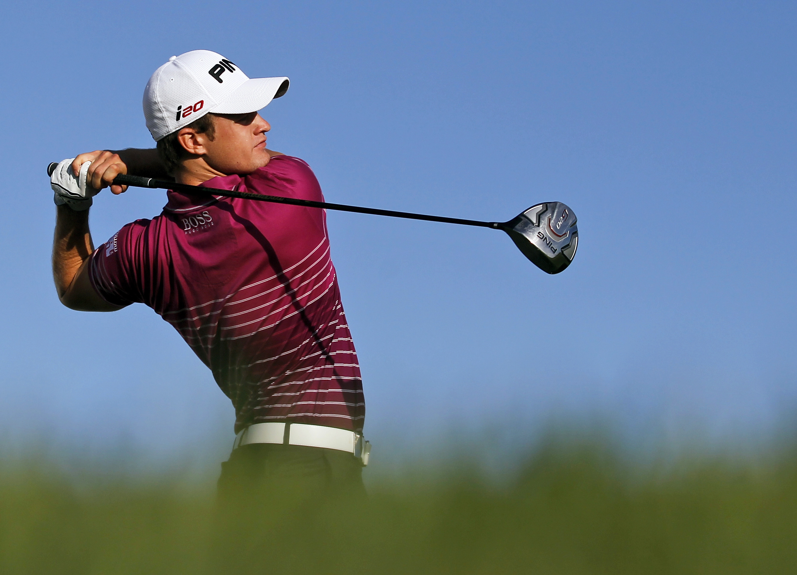FILE - A Thursday, Oct. 11, 2012 file photo of Tom Lewis, from Britain, teeing off from the 14th hole during the first round of the Portugal Master golf tournament at the Victoria golf course in Vilamoura, southern Portugal. Next Thursday, Nov. 17, 2016,