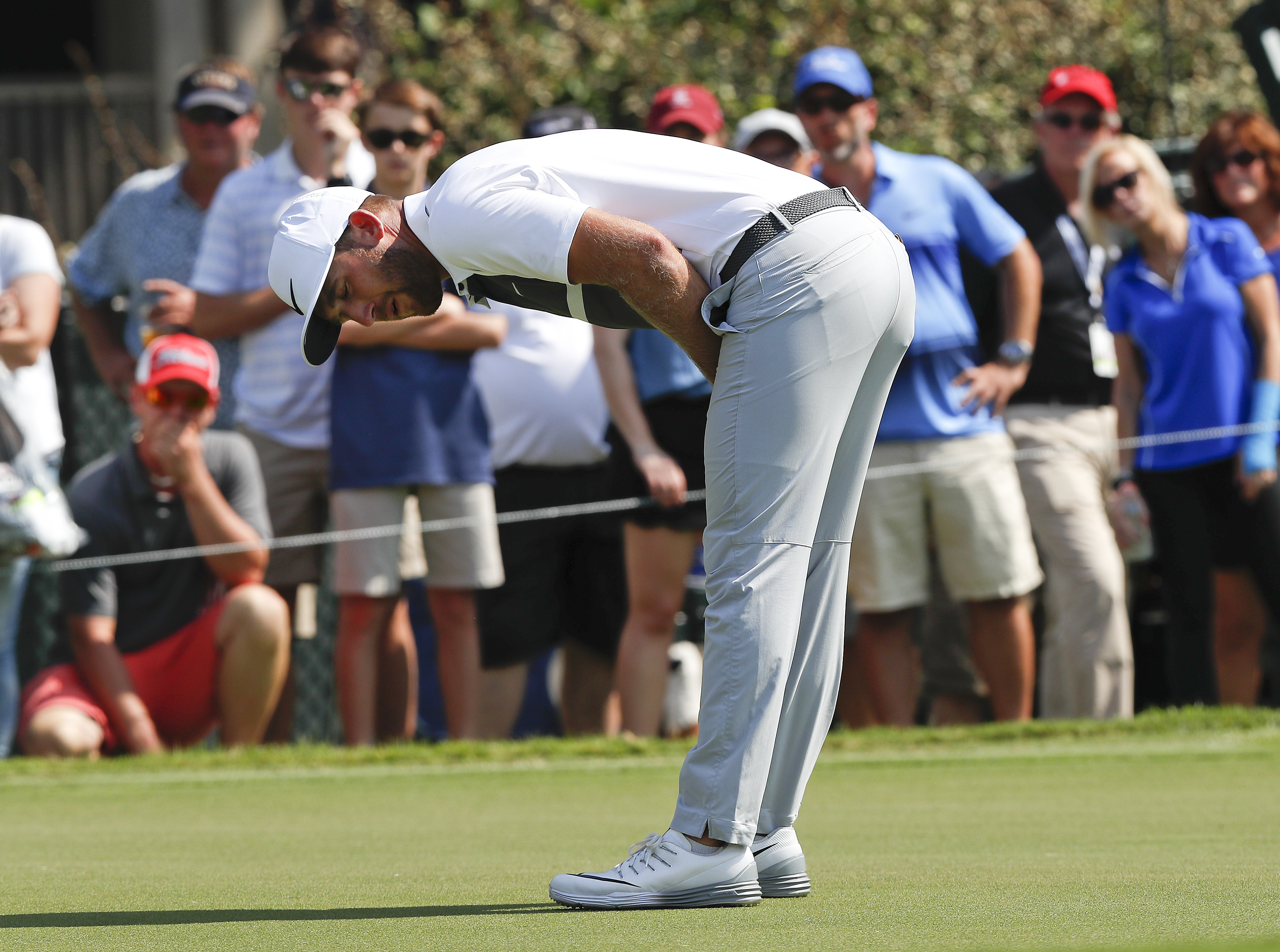 FILE - In this Sept. 25, 2016, file photo, Kevin Chappell reacts after missing a putt on the fourth hole during the final round of play at the Tour Championship golf tournament at East Lake Golf Club, in Atlanta. It's easy to think about everything that d