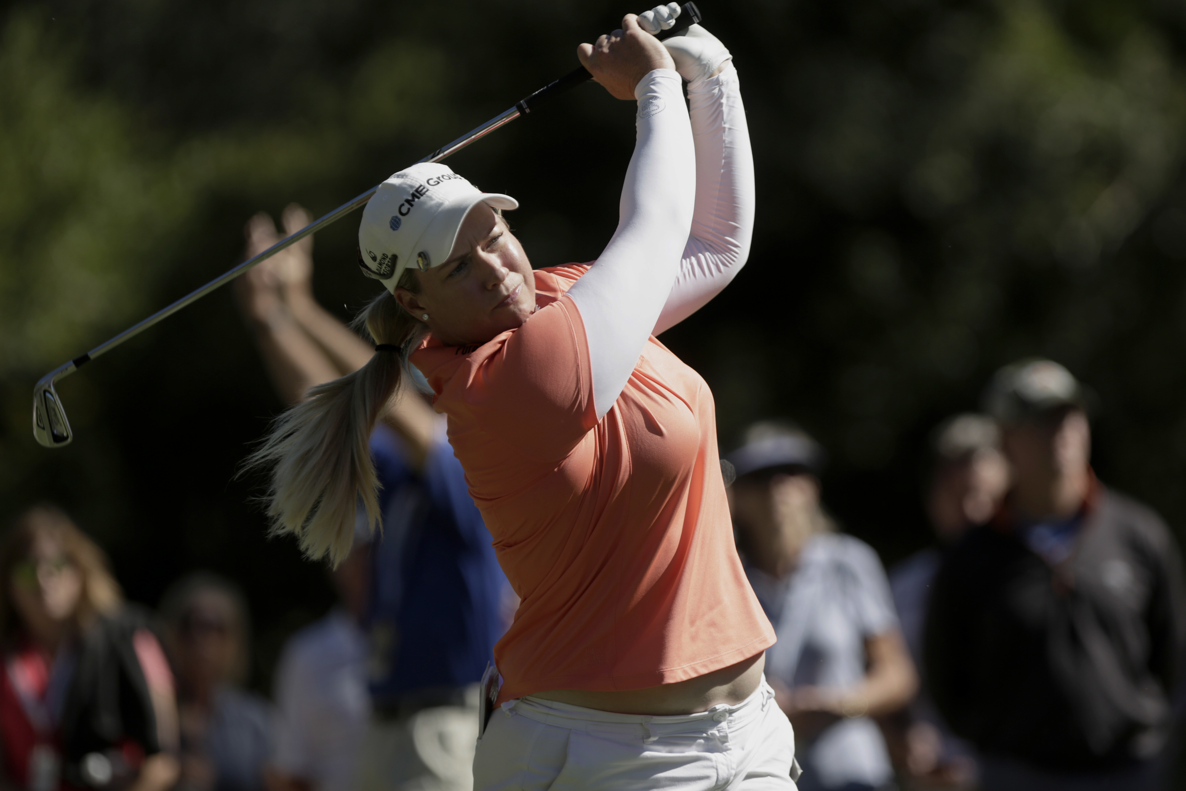 Brittany Lincicome, of Seminole, Fla., tees off during the CME Group Tour Championship golf tournament in Naples, Fla., Sunday, Nov. 20, 2016. (Dorothy Edwards/Naples Daily News via AP)