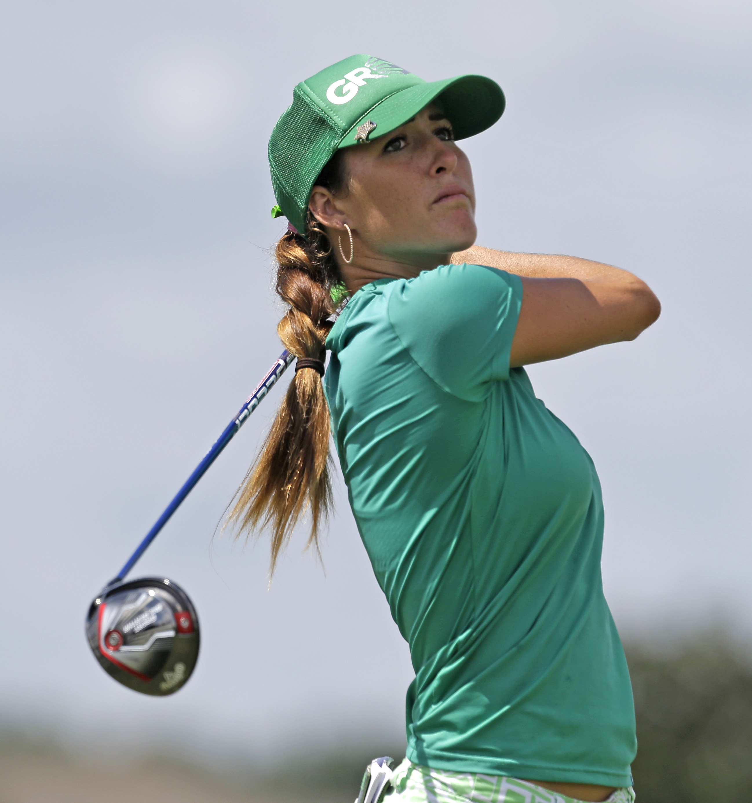 Jaye Marie Green tees off on the third hole during the final round of the Yokohama Tire LPGA Classic golf tournament, Sunday, Aug. 30, 2015, in Prattville, Ala. (AP Photo/Butch Dill)