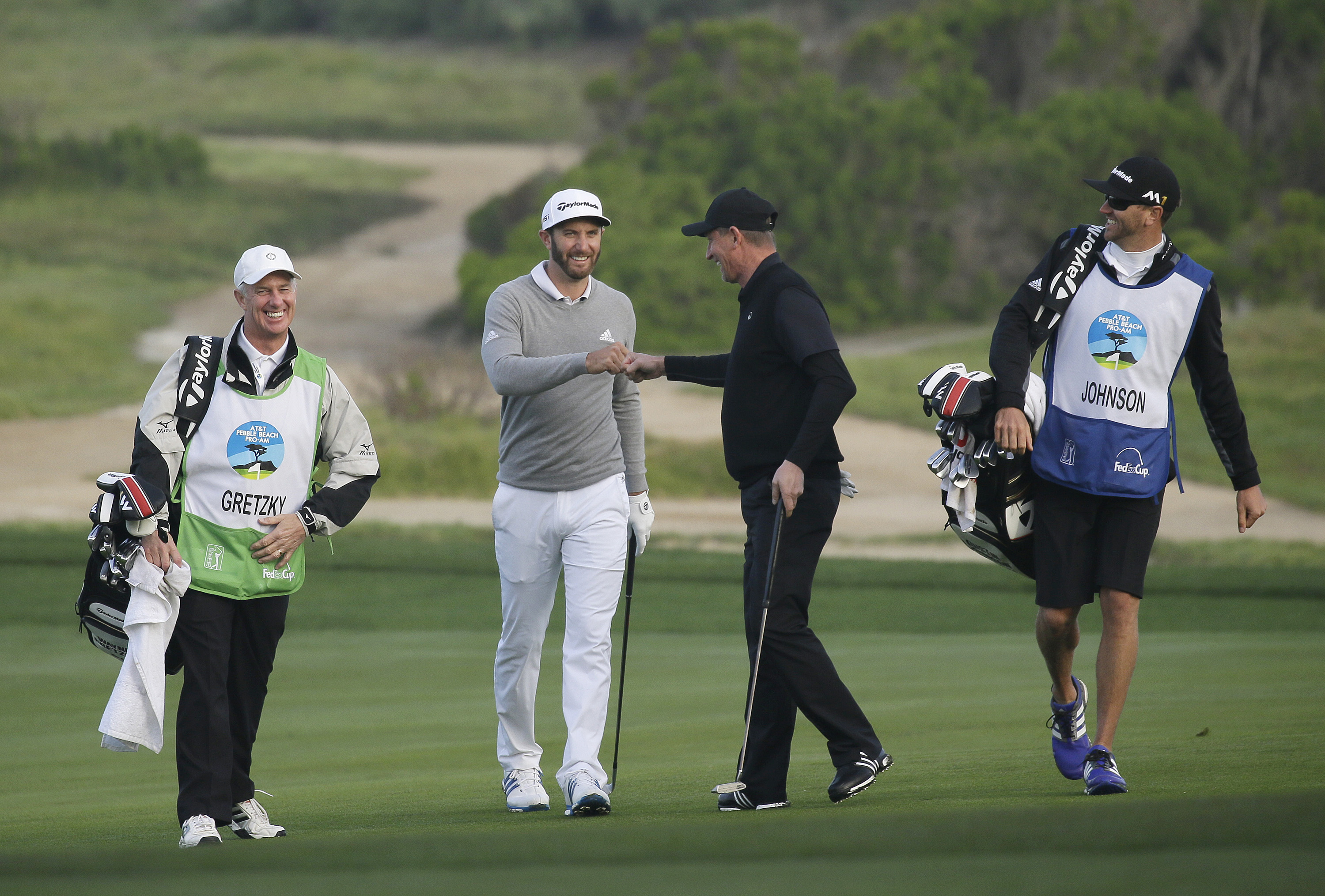 FILE - In a Friday, Feb. 12, 2016 file photo, Dustin Johnson, second from left, is greeted by playing partner Wayne Gretzky, second from right, after making an eagle chip on the 10th green of the Monterey Peninsula Country Club Shore Course during the sec