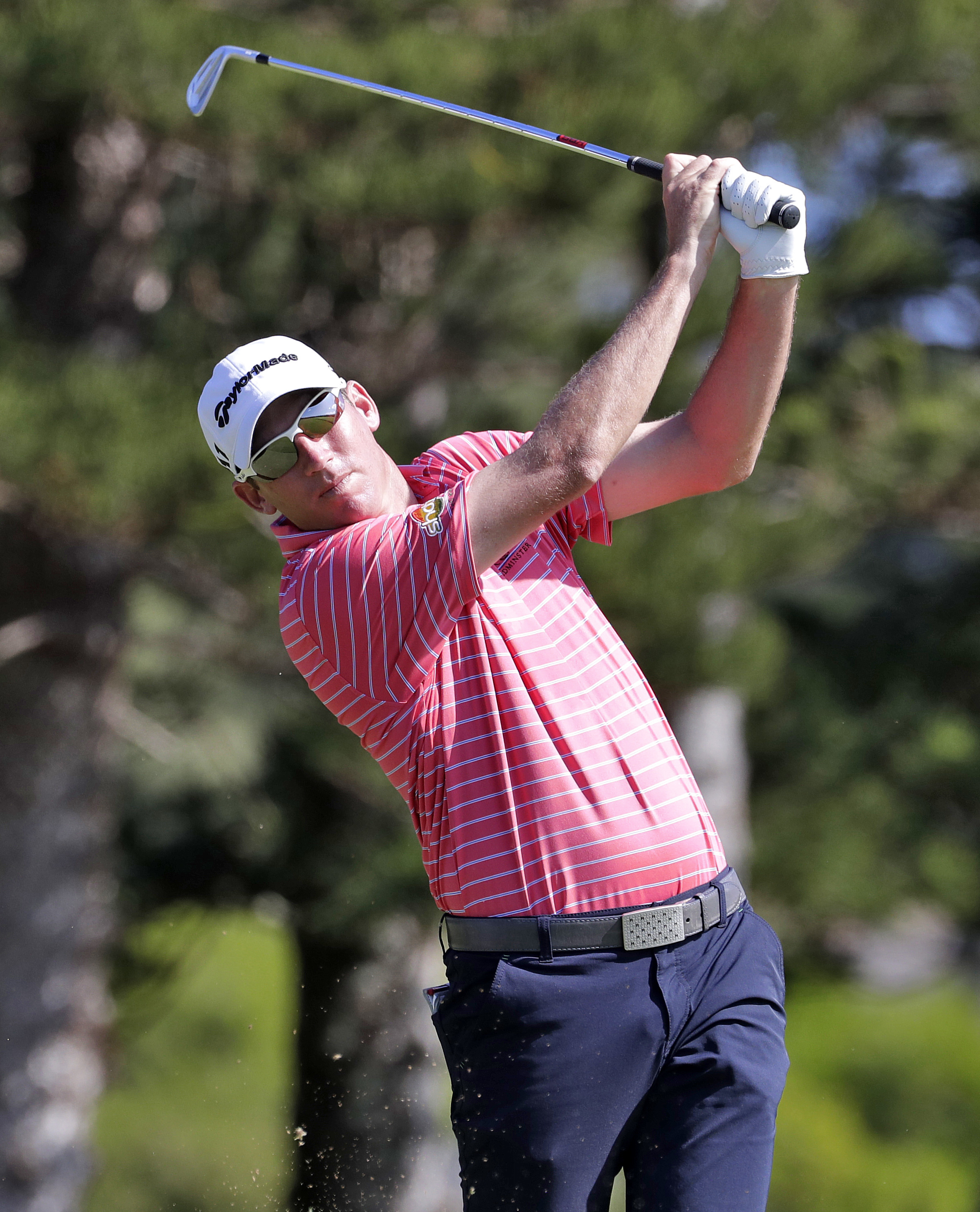 Jim Herman hits from the second tee during the first round of the Tournament of Champions golf event, Thursday, Jan. 5, 2017, at Kapalua Plantation Course in Kapalua, Hawaii. (AP Photo/Matt York)