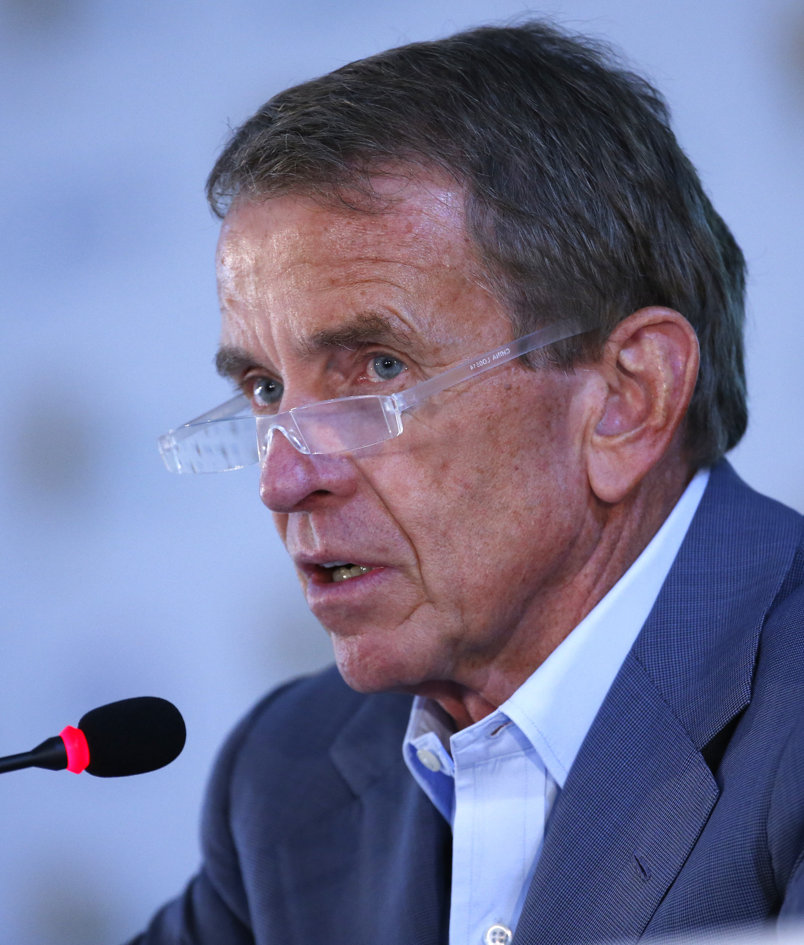 FILE - This Oct. 10, 2015 file photo shows PGA Tour's Commissioner Tim Finchem holding a news conference in Incheon, South Korea. Finchem officially retires at the end of the year as PGA Tour commissioner, ending more than two decades during which he expa