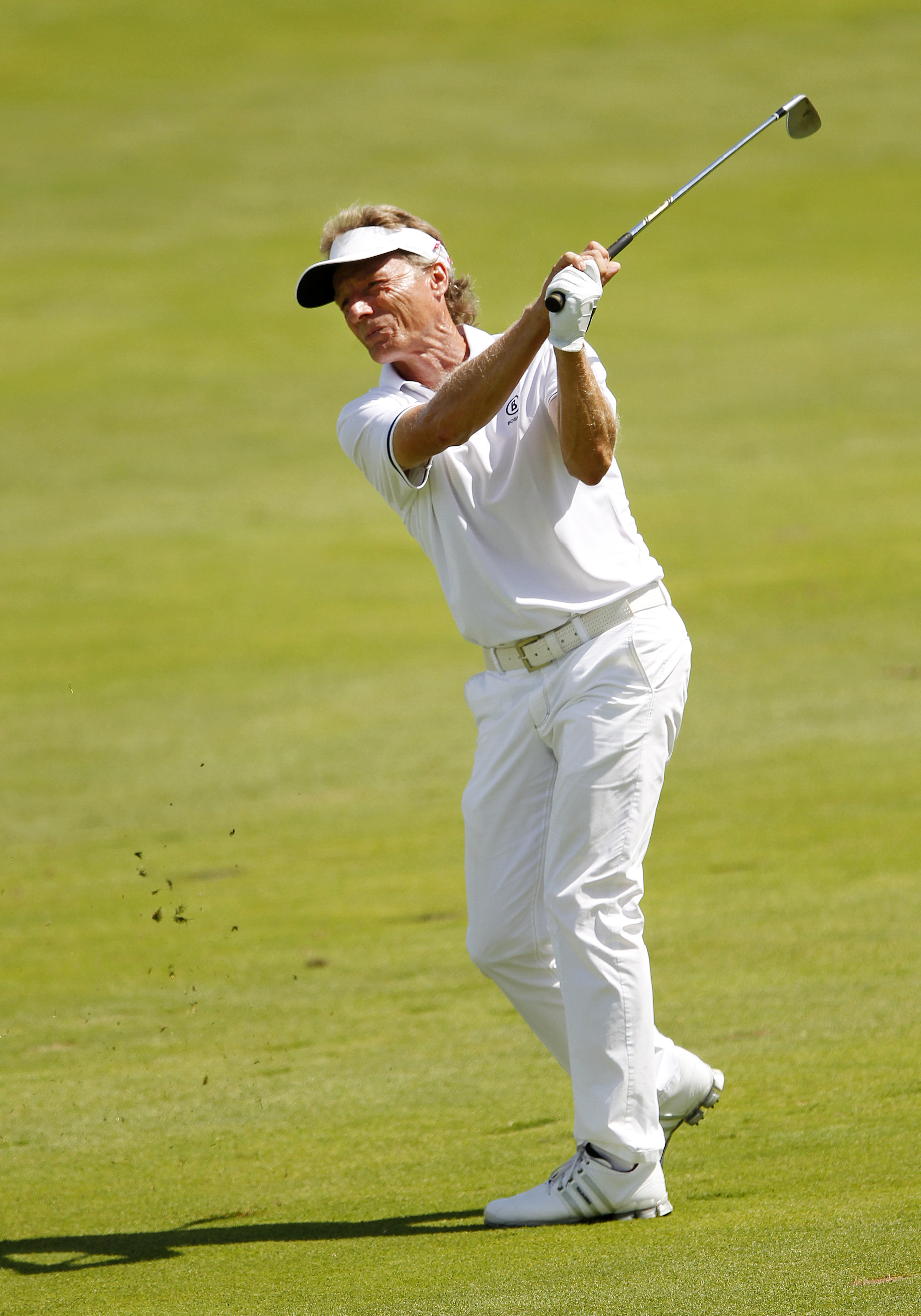 Bernhard Langer hits on the 12th hole during the final round of the 3M Championship golf tournament in Blaine, Minn., Sunday, Aug. 7, 2016. (AP Photo/Andy Clayton-King)