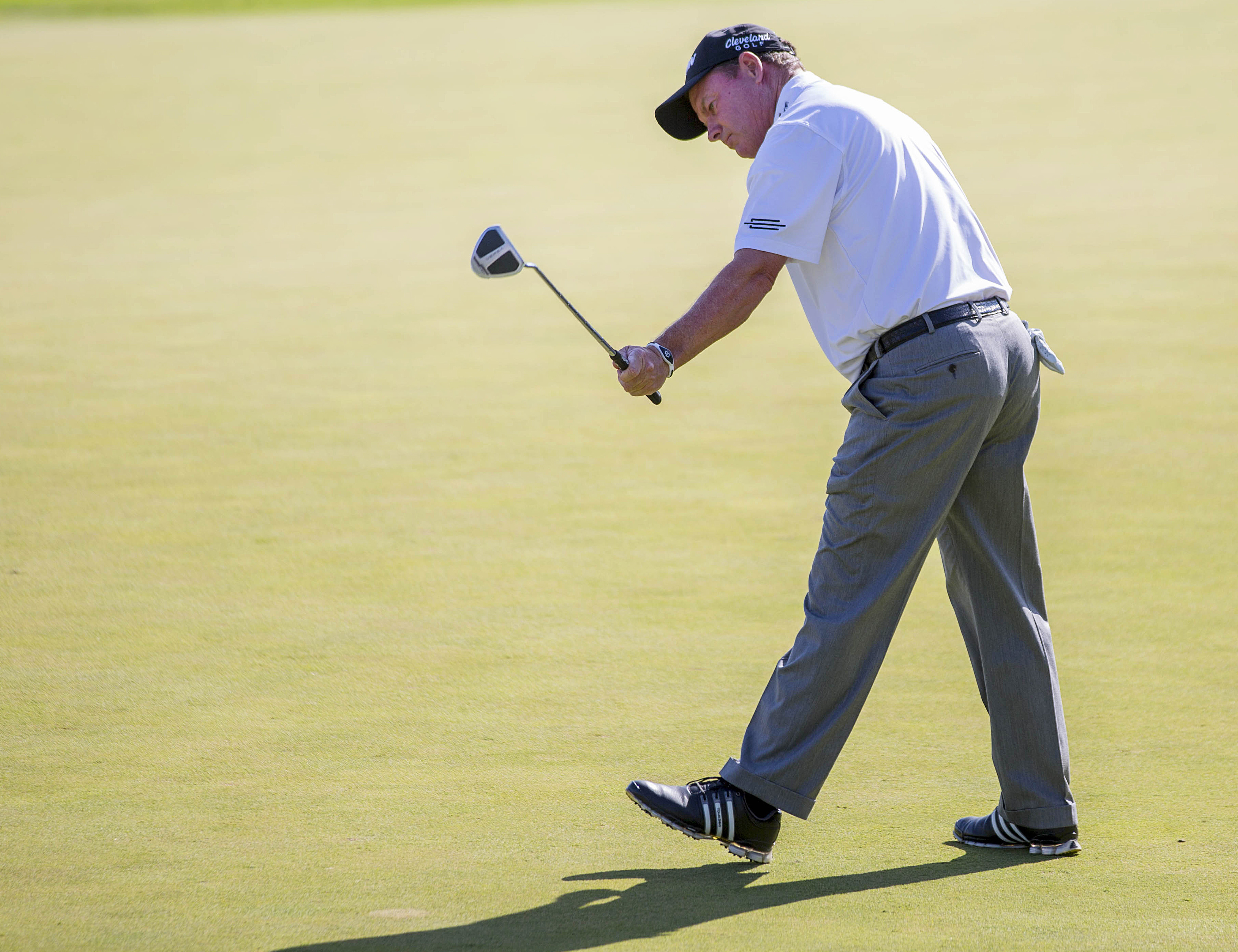 Bob Durant watches his winning putt on the 18th hole ending a playoff with Miguel Angel Jimenez during the final round of the 3M Championship golf tournament in Blaine, Minn., Sunday, Aug. 7, 2016. (AP Photo/Andy Clayton-King)