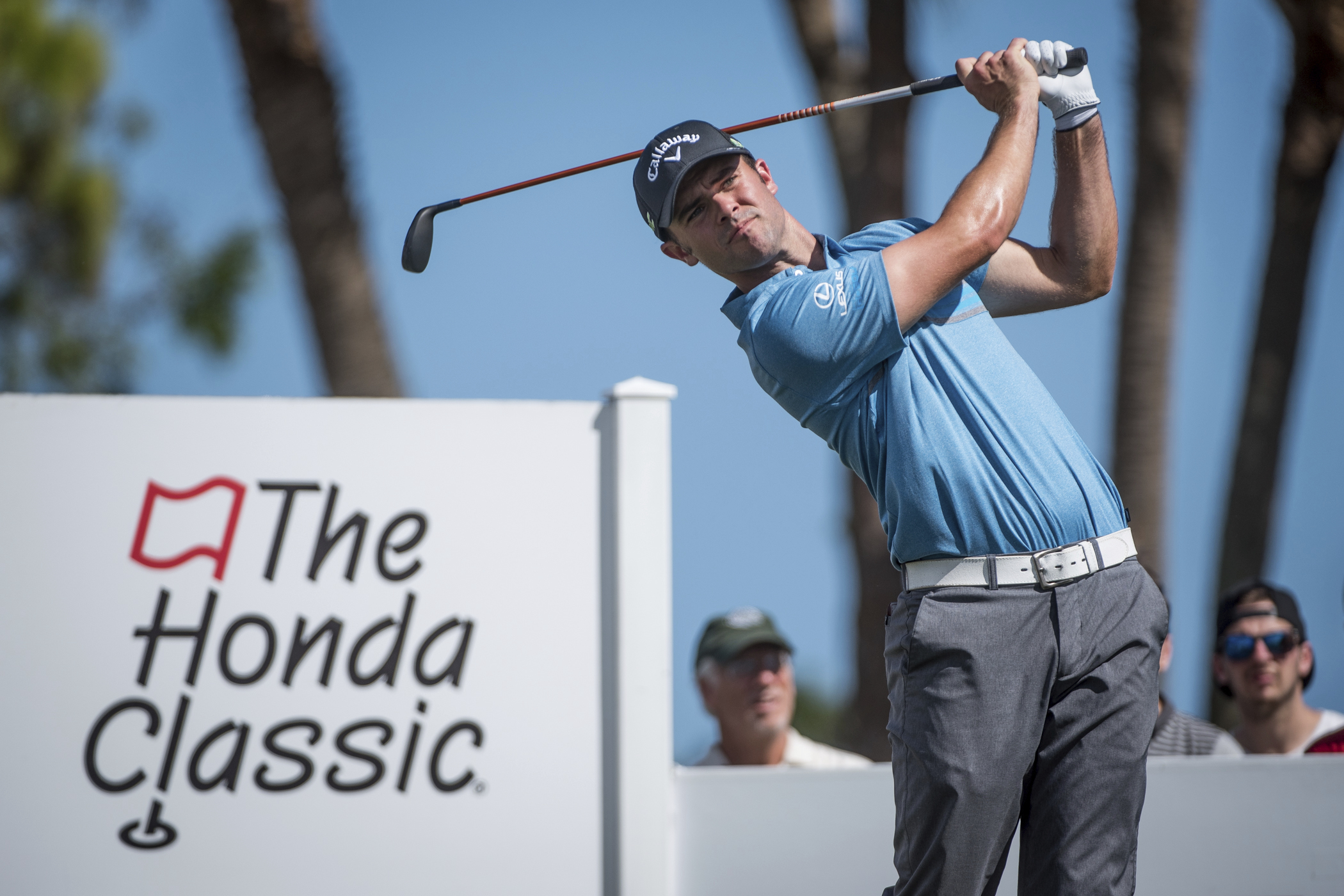 Golfer Wesley Bryan tees off on the fourth hole during the Honda Classic golf tournament in Palm Beach Gardens, Fla., on Friday, Feb. 24, 2017. (Michael Ares/The Palm Beach Post via AP)