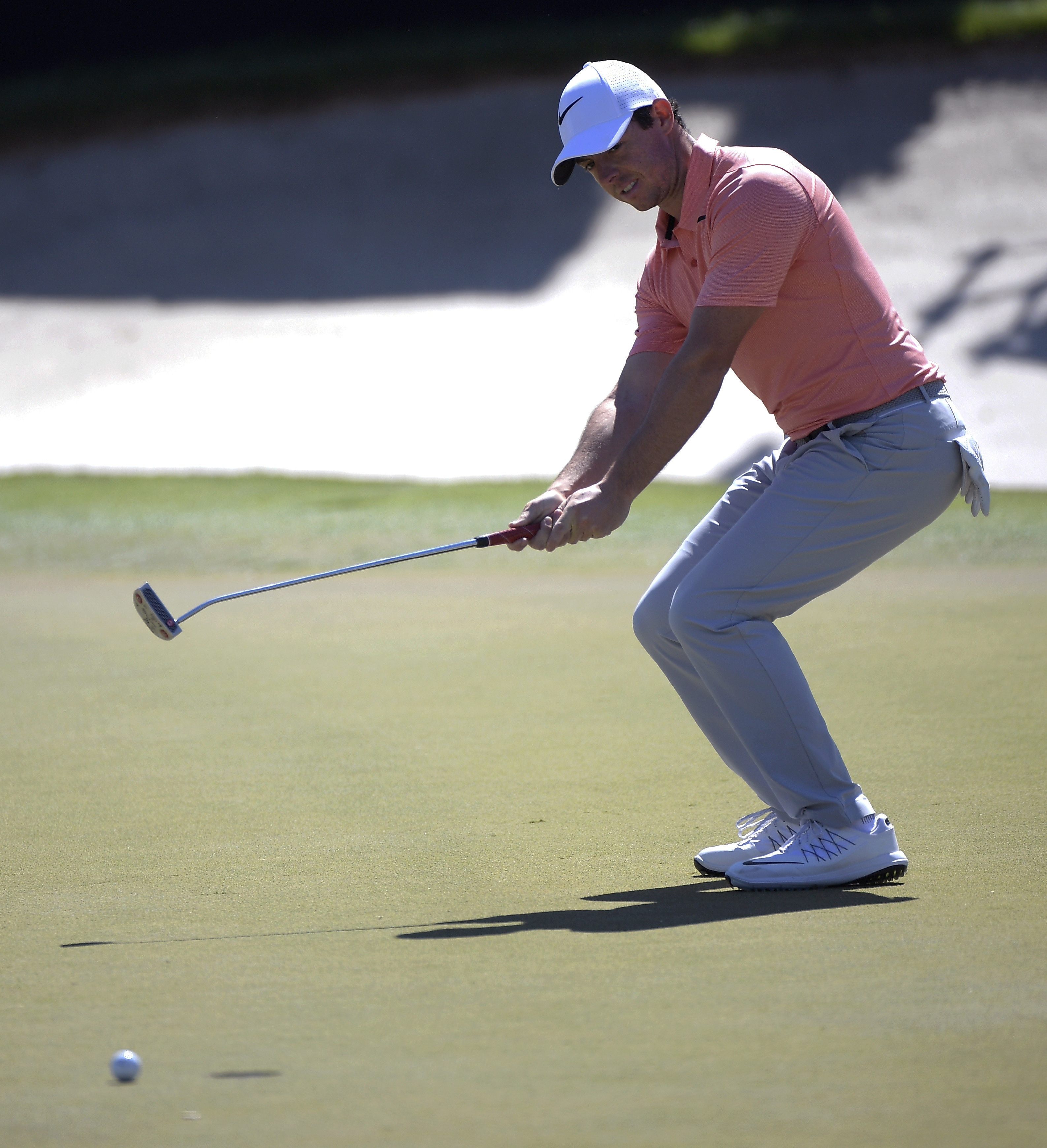 Rory McIlroy, of Northern Ireland, reacts after barely missing a putt for birdie on the eighth green during the third round of the Arnold Palmer Invitational golf tournament in Orlando, Fla., Saturday, March 18, 2017. (AP Photo/Phelan M. Ebenhack)