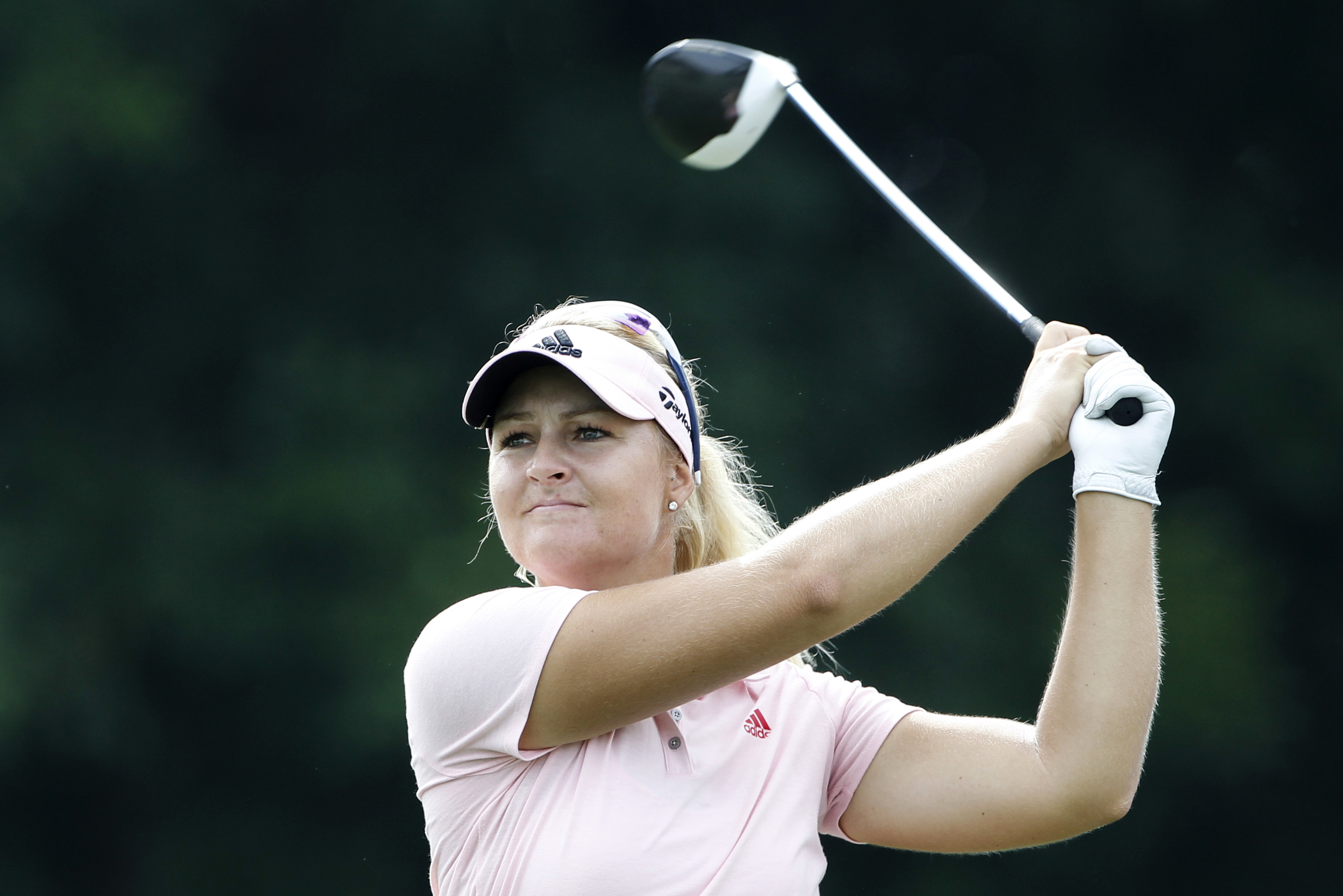 Anna Nordqvist of Sweden follows her shot on the second hole during the third round of the LPGA golf tournament at Tournament Players Club in Kuala Lumpur, Malaysia, Saturday, Oct. 29, 2016. (AP Photo/Joshua Paul)