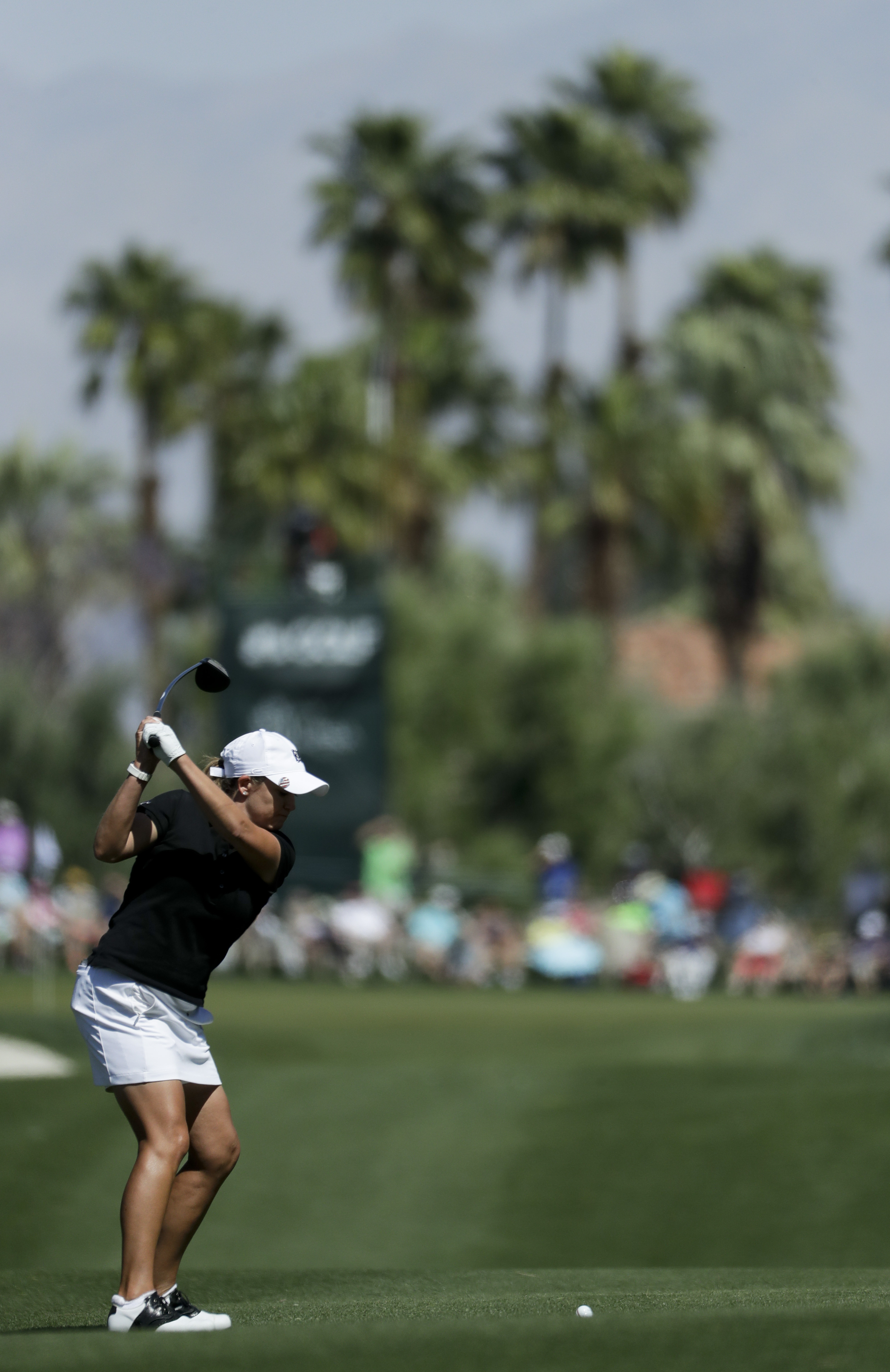 Cristie Kerr hits from the fairway on the ninth hole during the second round of the LPGA Tour ANA Inspiration golf tournament at Mission Hills Country Club Friday, March 31, 2017 in Rancho Mirage, Calif. (AP Photo/Chris Carlson)
