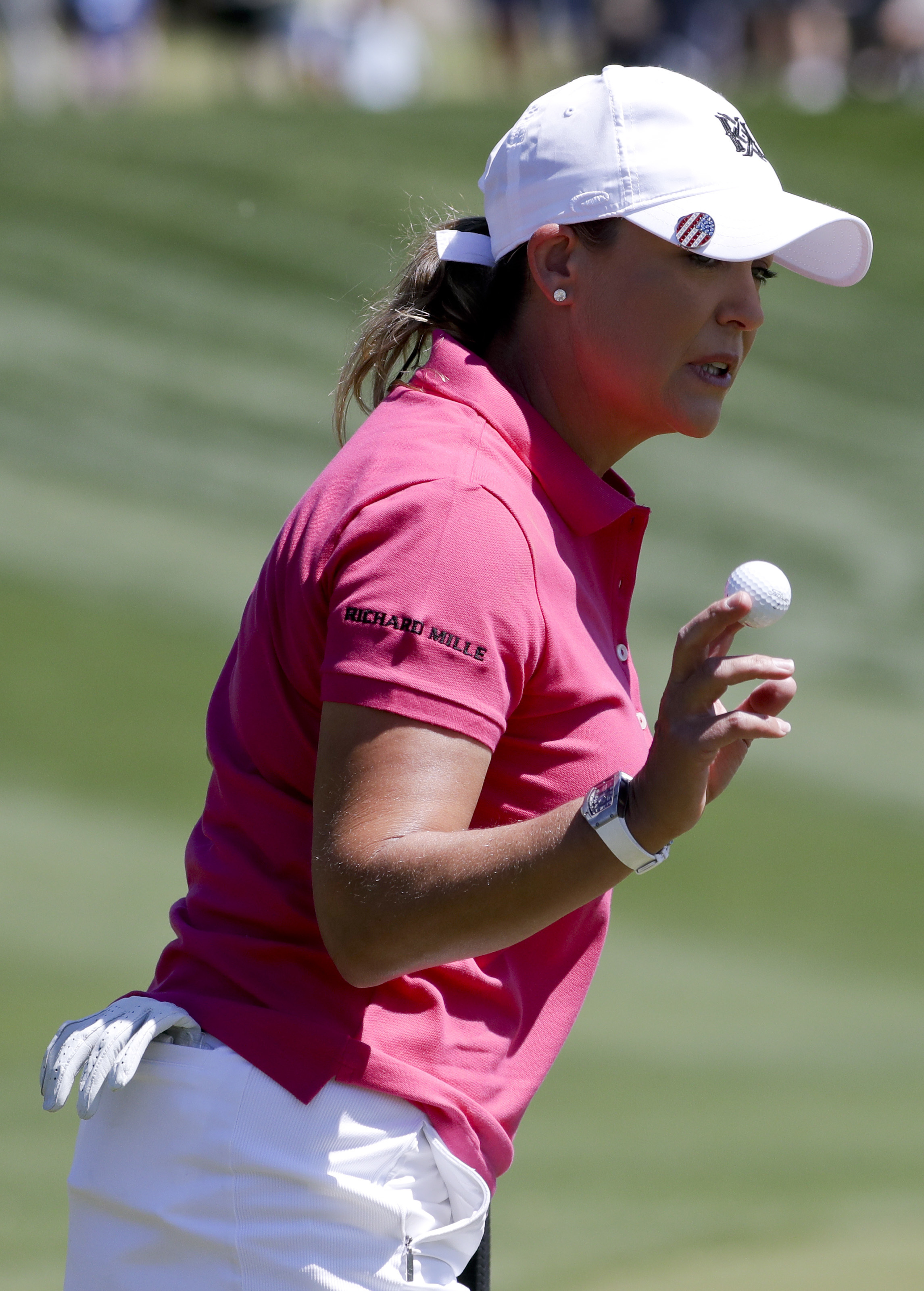 Cristie Kerr waves after making a putt on the first hole during the third round of the LPGA Tour's ANA Inspiration golf tournament at Mission Hills Country Club on Saturday, April 1, 2017, in Rancho Mirage, Calif. (AP Photo/Chris Carlson)
