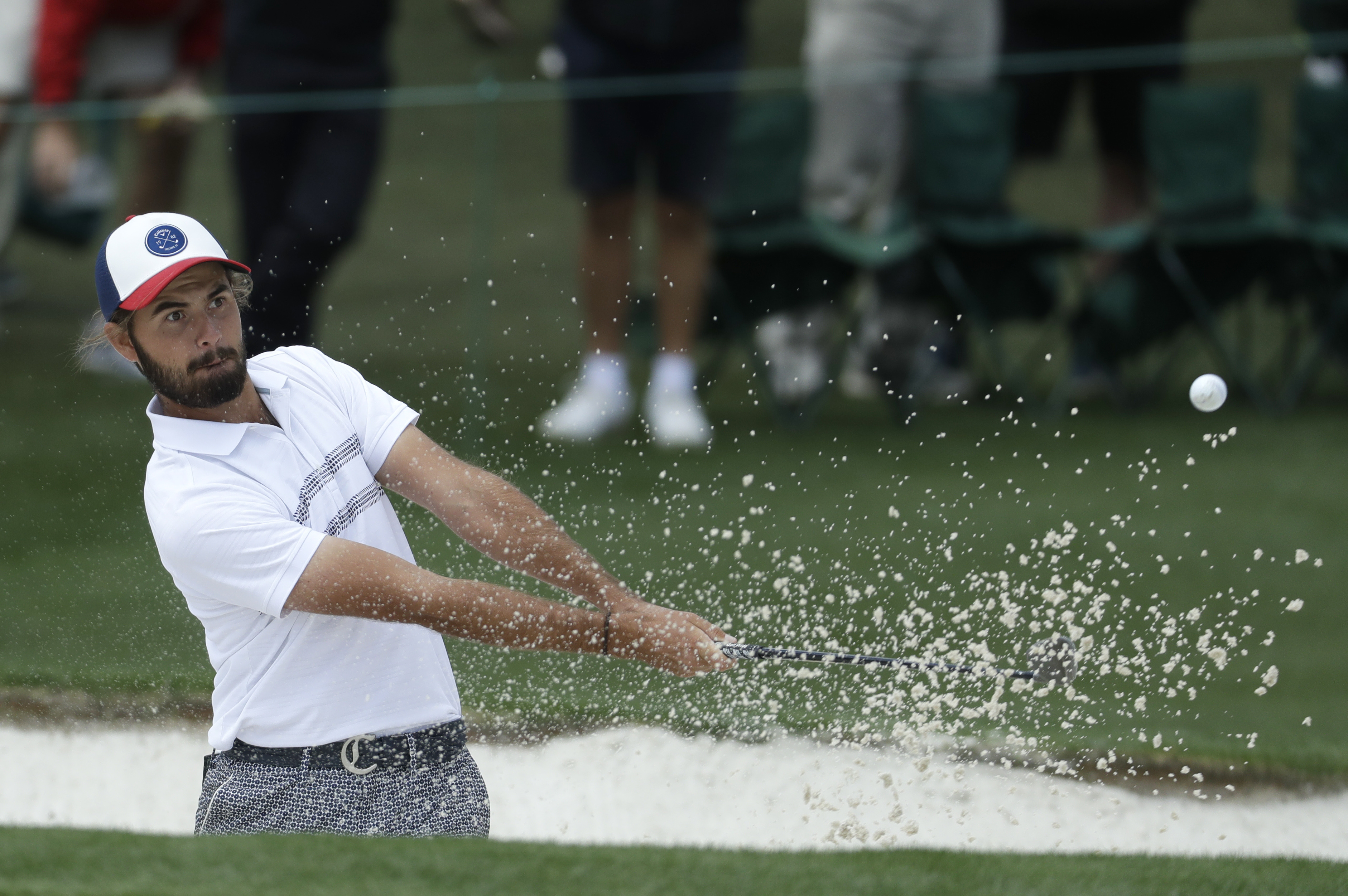 Curtis Luck of Australia, hits from a bunker on the second hole during the first round for the Masters golf tournament Thursday, April 6, 2017, in Augusta, Ga. (AP Photo/Chris Carlson)