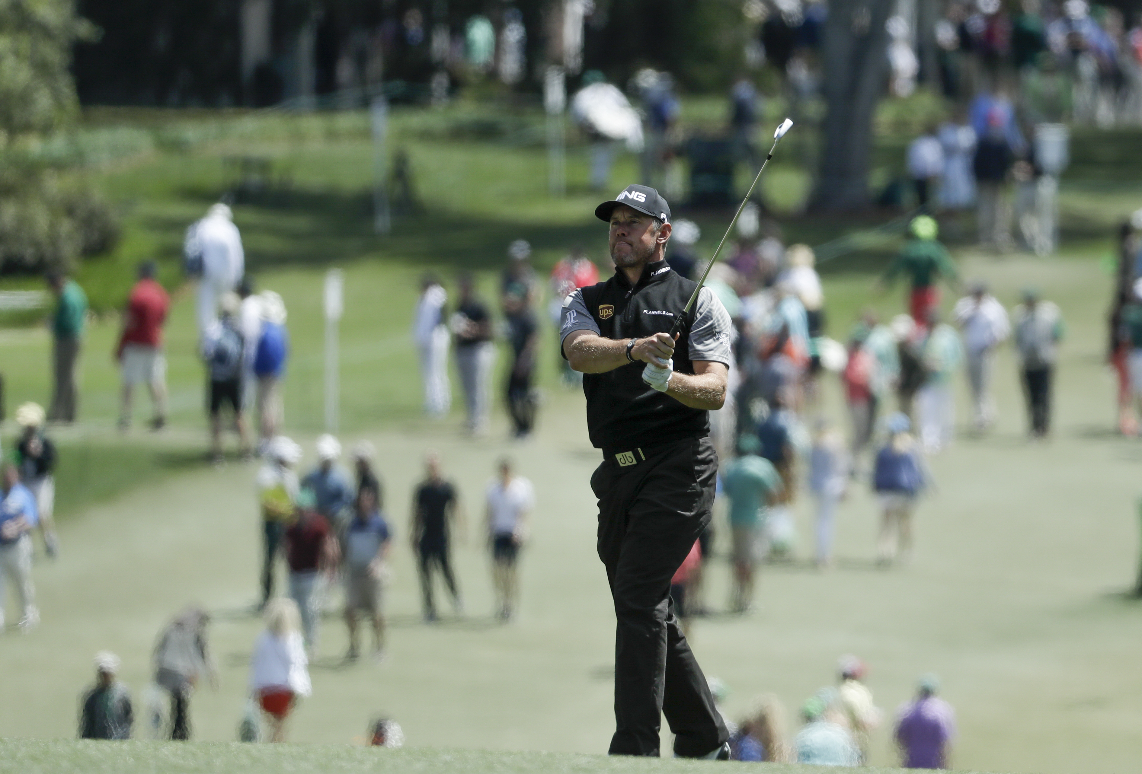 Lee Westwood, of England, hits to the first green during the third round of the Masters golf tournament Saturday, April 8, 2017, in Augusta, Ga. (AP Photo/Chris Carlson)