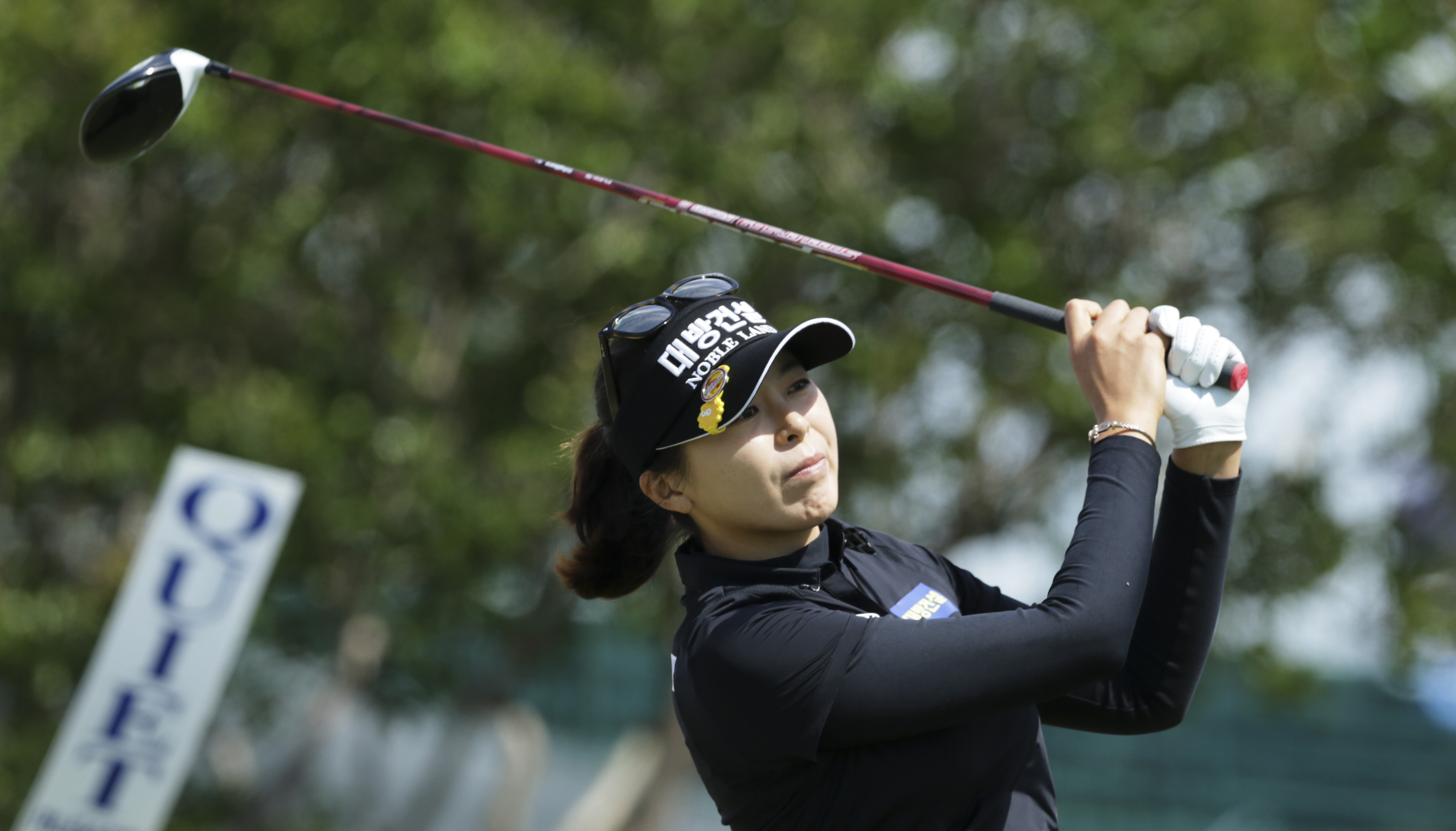 Mi Jung Hur, of South Korea, watches her tee shot on the 10th hole during the LPGA Texas Shootout golf tournament in Irving, Texas, Thursday, April 27, 2017. (AP Photo/LM Otero)