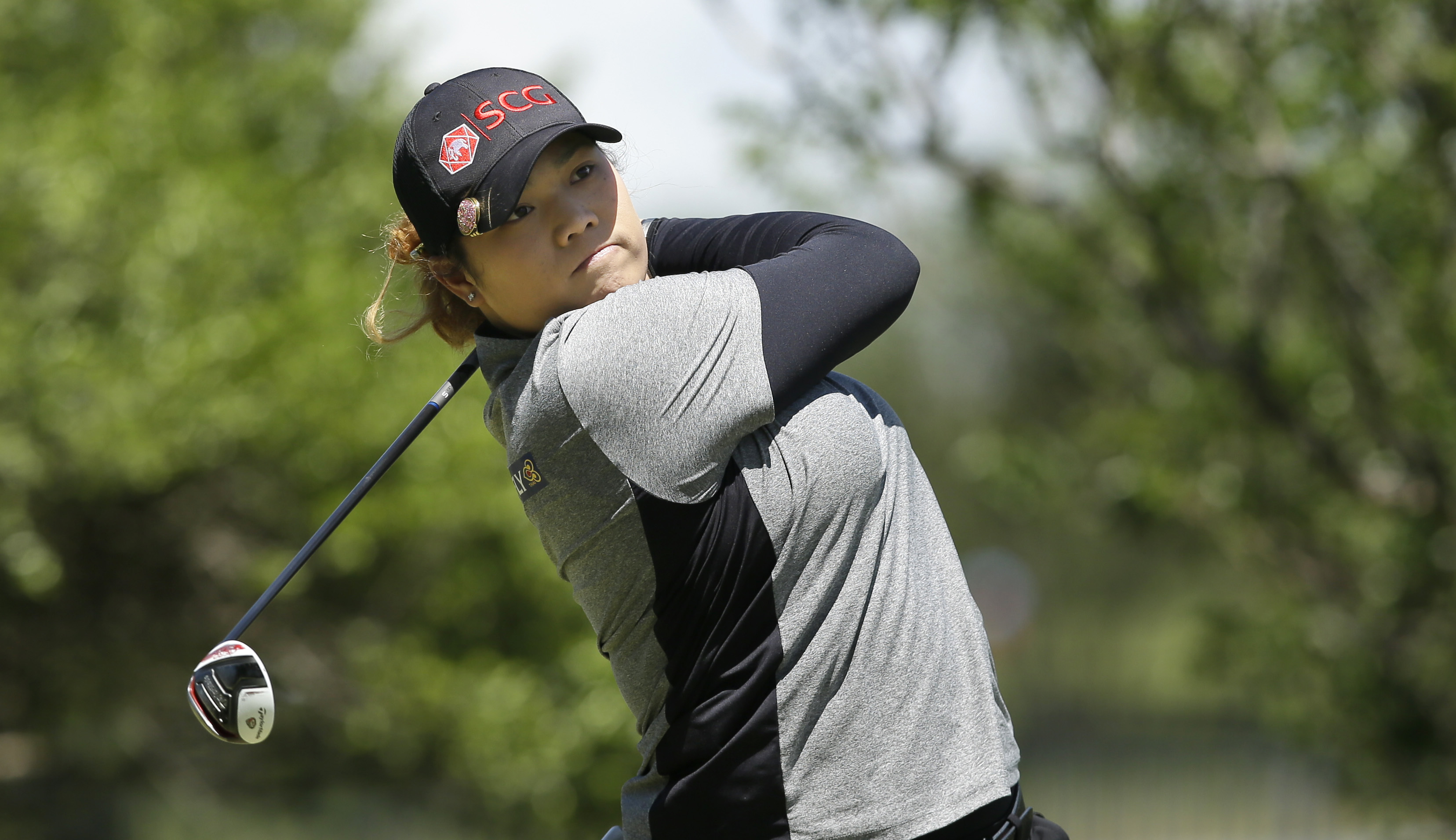 Ariya Jutanugarn of Thailand watches a tee shot during the LPGA Texas Shootout golf tournament in Irving,Texas Sunday, April 30, 2017. (AP Photo/LM Otero)