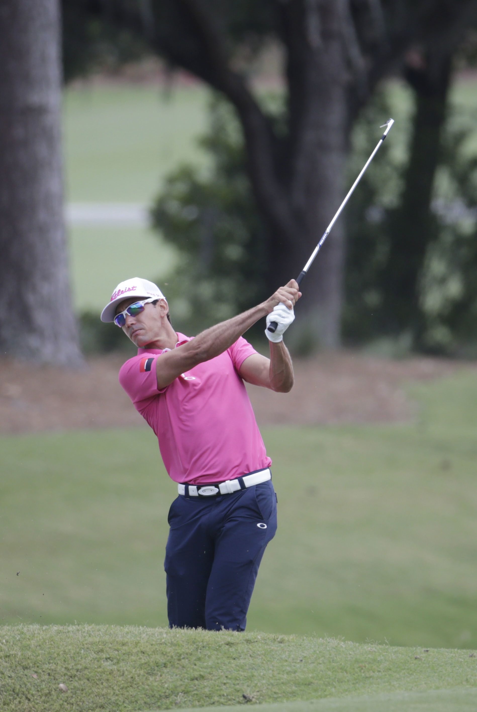 Rafa Cabrera Bello, of Spain, hits from the first fairway during the final round of The Players Championship golf tournament Sunday, May 14, 2017, in Ponte Vedra Beach, Fla. (AP Photo/Lynne Sladky)