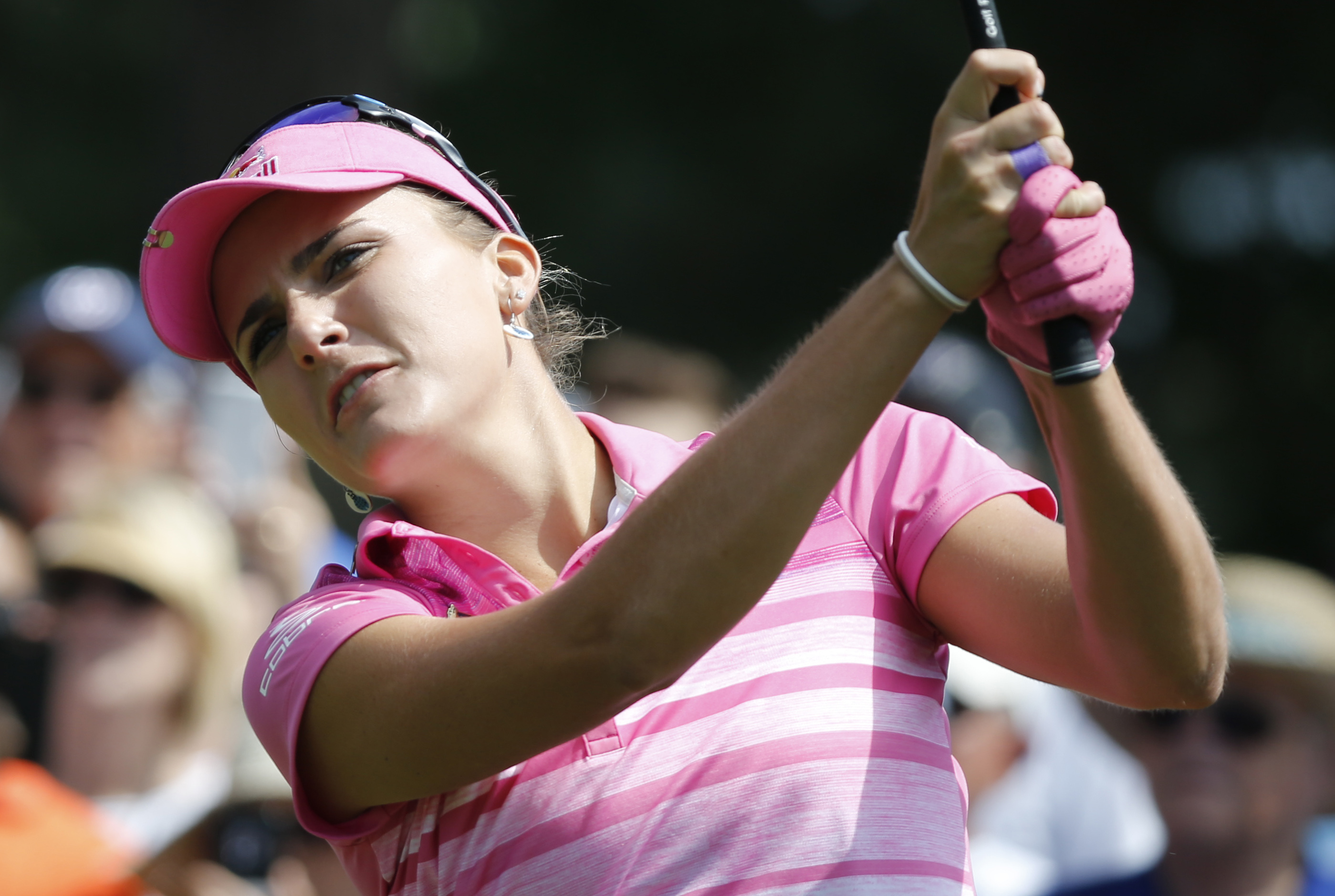 Lexi Thompson watches her tee shot on the second hole during the third round of the Kingsmill Championship LPGA golf tournament in Williamsburg, Va., Saturday, May 20, 2017. (AP Photo/Steve Helber)