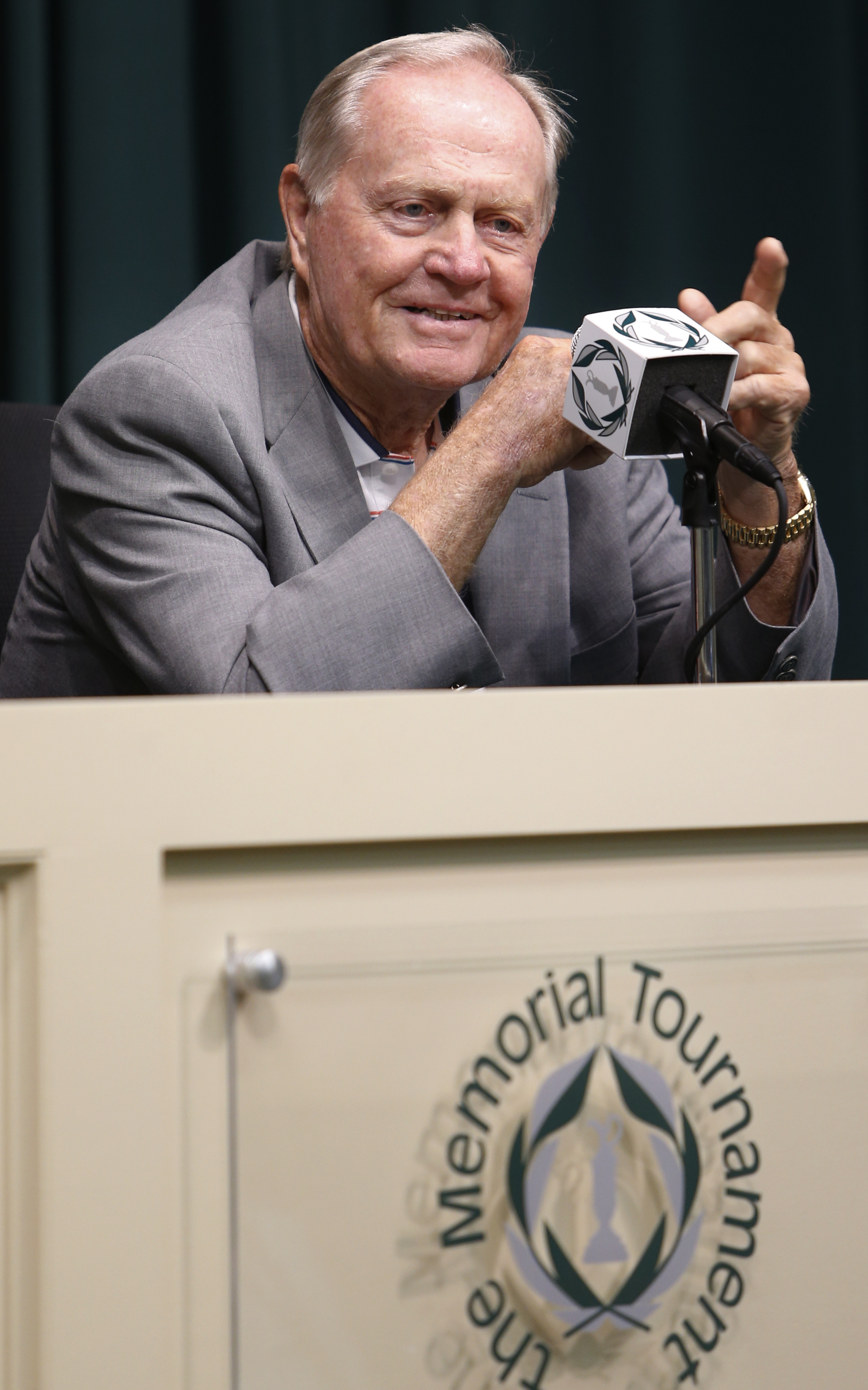 Jack Nicklaus answers questions during a news conference a few days before the start of the Memorial golf tournament Tuesday, May 30, 2017, in Dublin, Ohio. (AP Photo/Jay LaPrete)