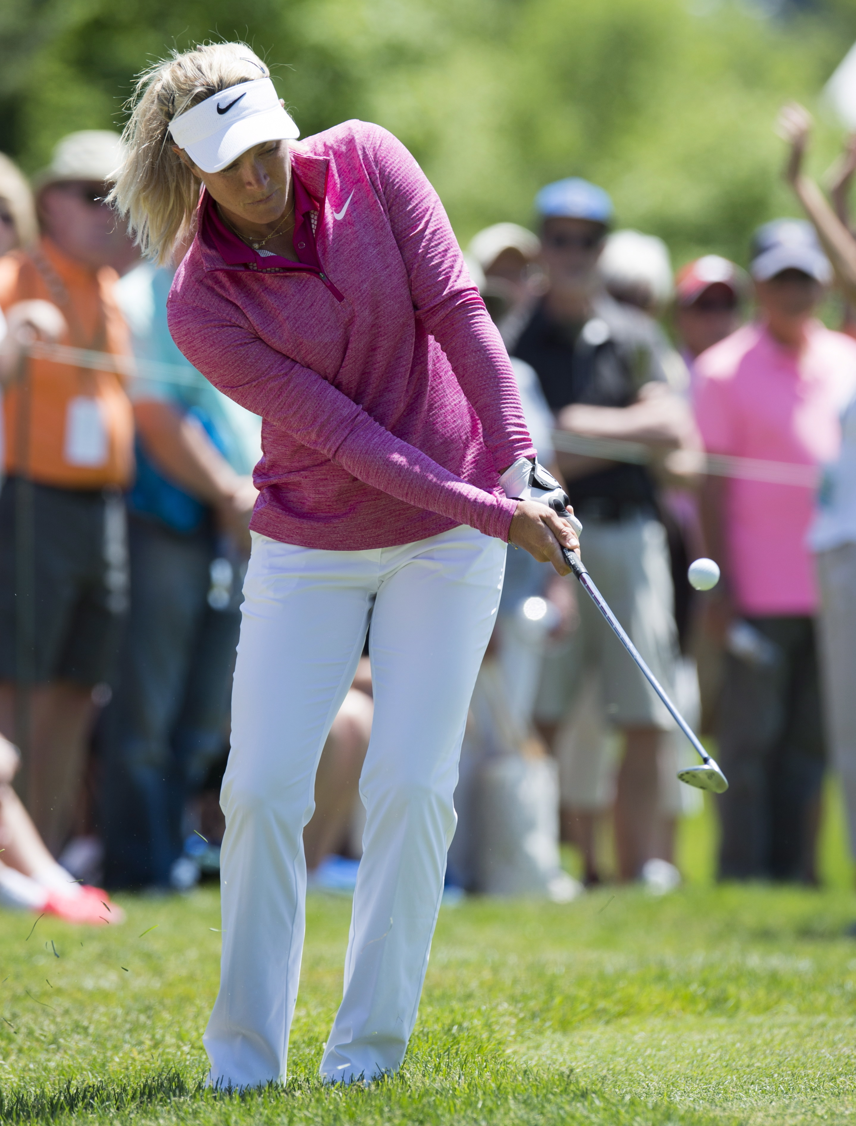 Suzann Pettersen, of Norway, chips onto the 16th green  during the first round of the LPGA Classic golf tournament at Whistle Bear Golf Club in Cambridge, Ontario, Thursday, June 8, 2017. (Frank Gunn/The Canadian Press via AP)