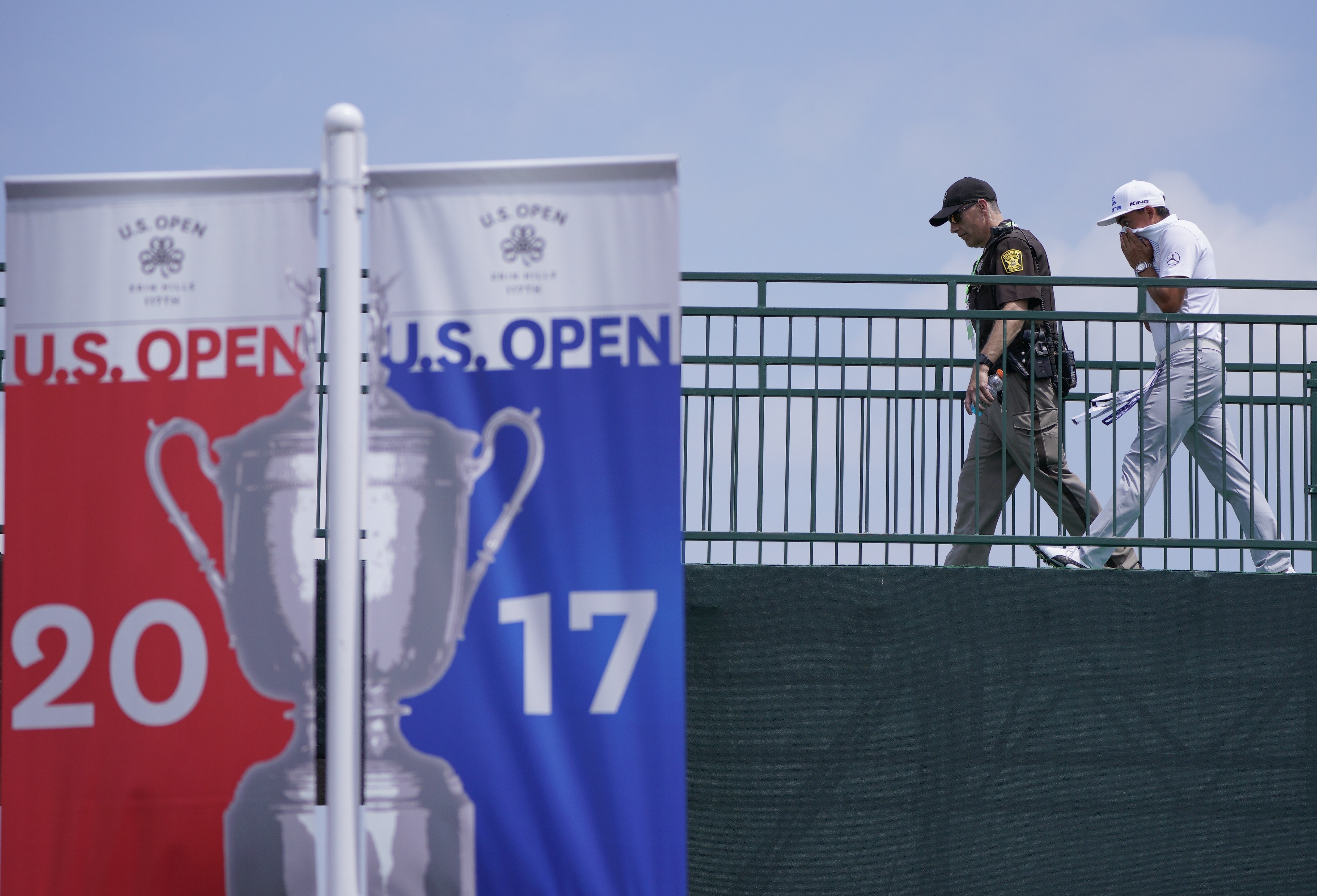 Rickie Fowler walks to the clubhouse after a practice round for the U.S. Open golf tournament Monday, June 12, 2017, at Erin Hills in Erin, Wis. (AP Photo/Morry Gash)