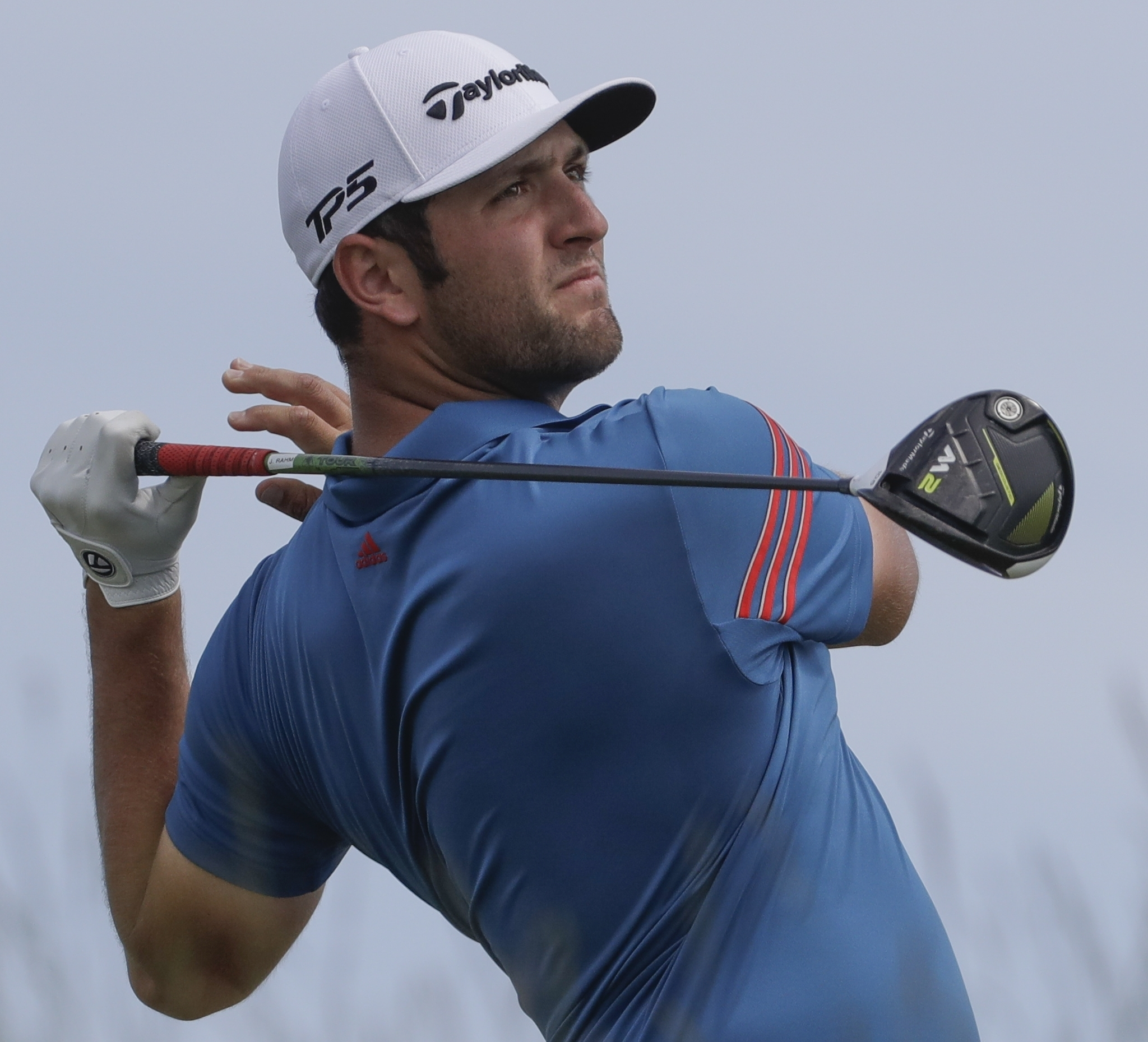 Jon Rahm, of Spain, hits a drive on the seventh hole during the second round of the U.S. Open golf tournament Friday, June 16, 2017, at Erin Hills in Erin, Wis. (AP Photo/Chris Carlson)